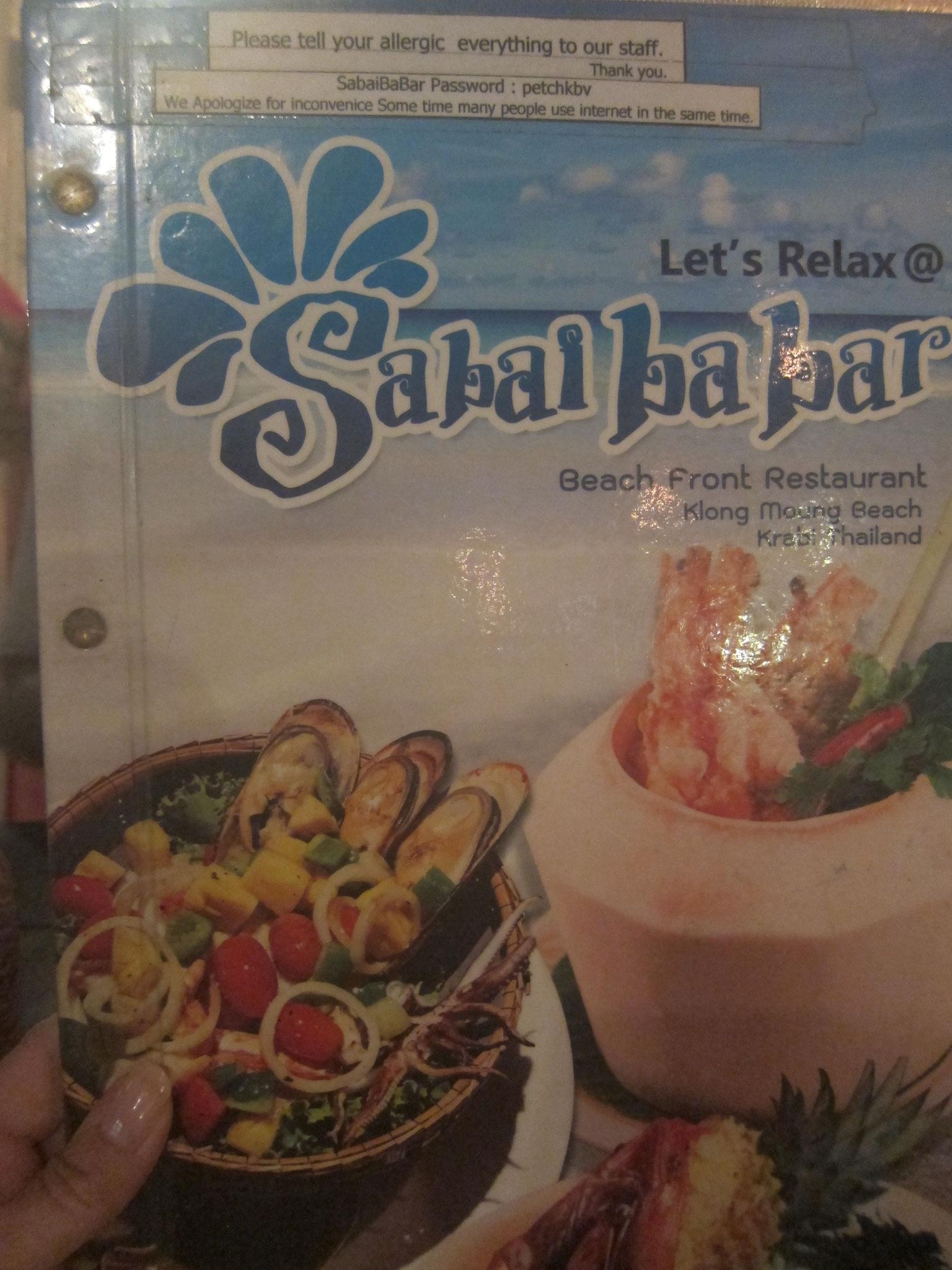 Sabai Ba Bar Speisekarte