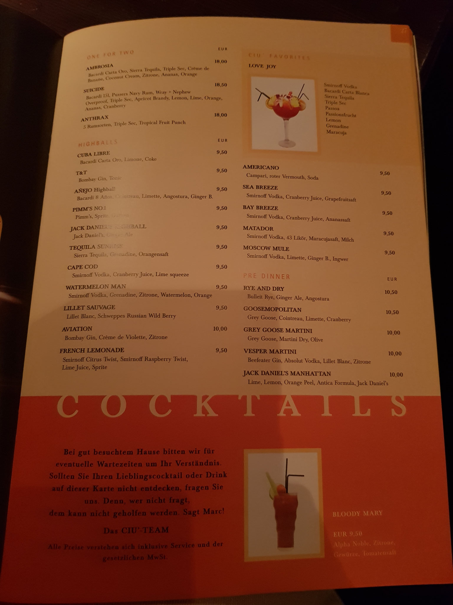 CIU Cocktailkarte