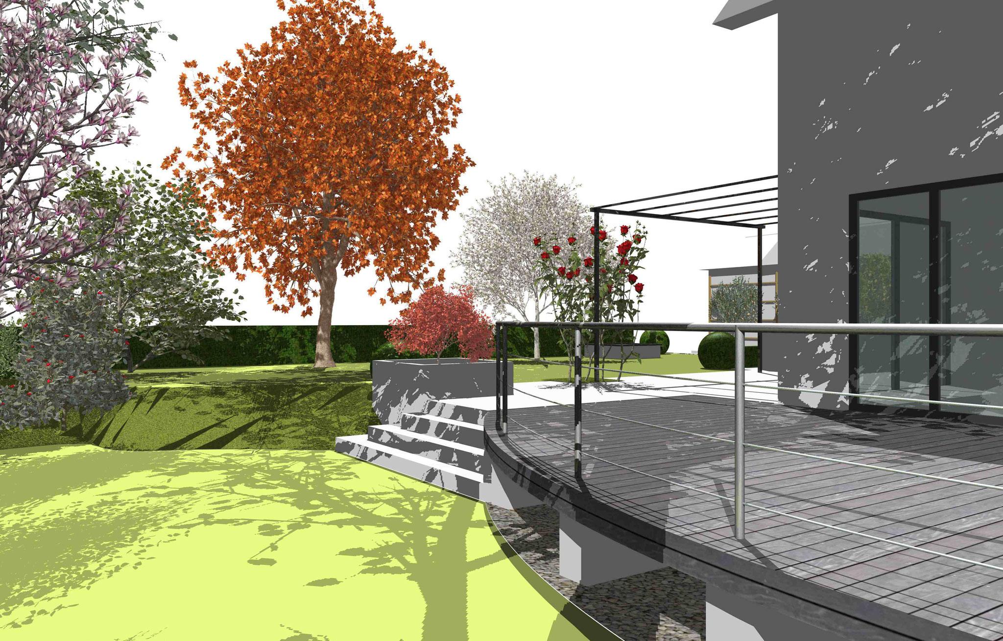 CAD-Plan Blick von unterer Rasenebene