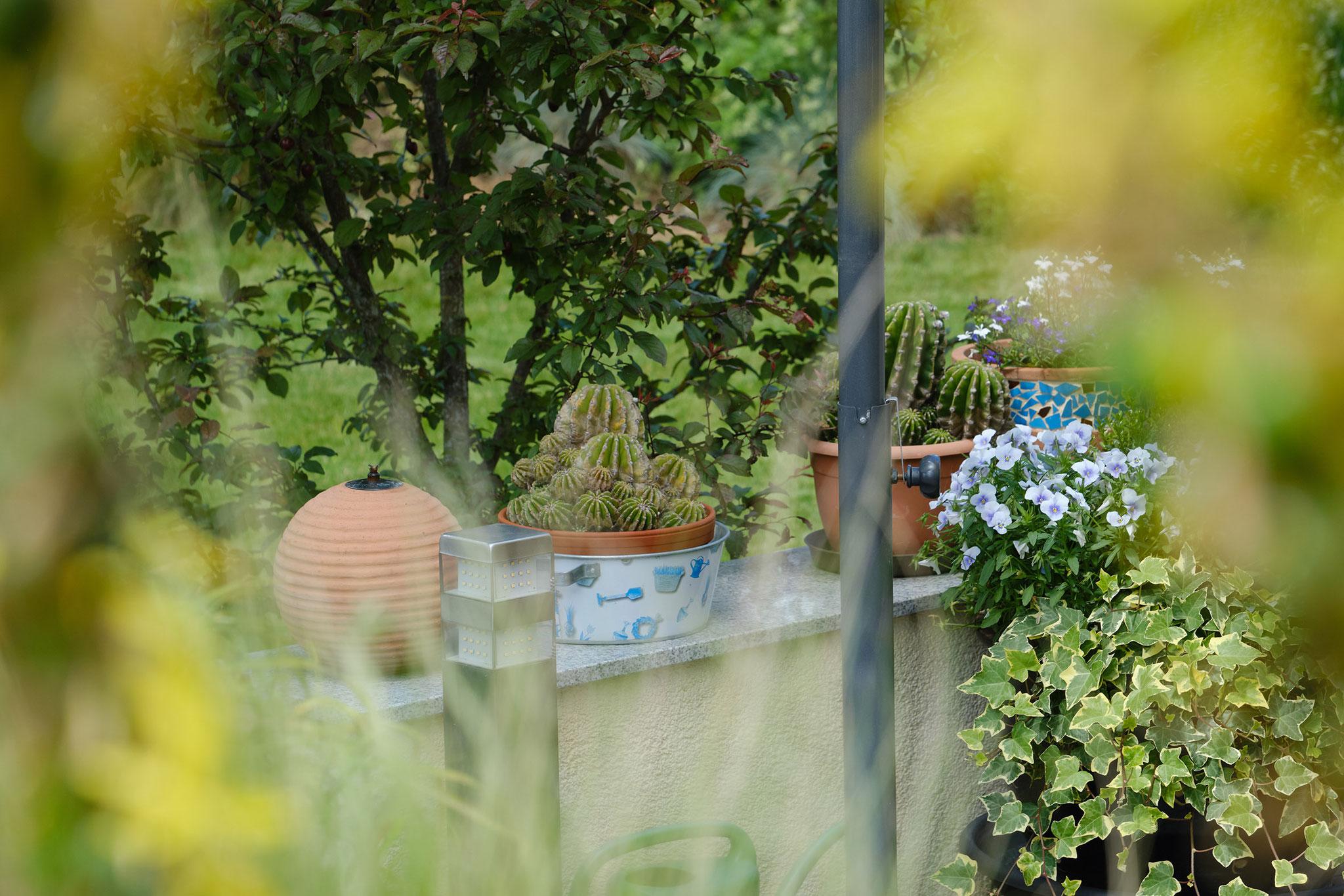 Mit Naturwerksteinplatten abgedeckte Sitzmauern, verputzt in der Hausfarbe