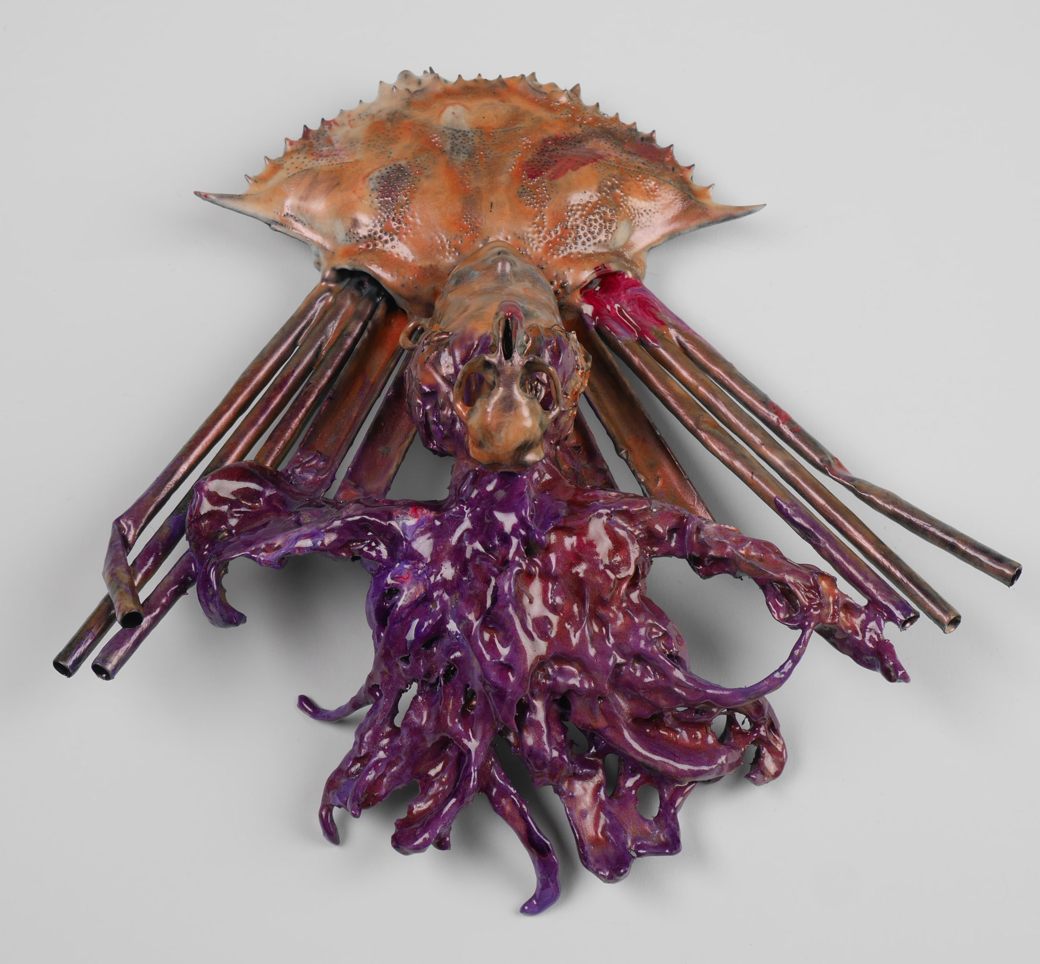 #13, 2016, crayfish carapace, plastic toys, straws and a rat scull coated with epoxy resin, 19,5x20,5x65cm