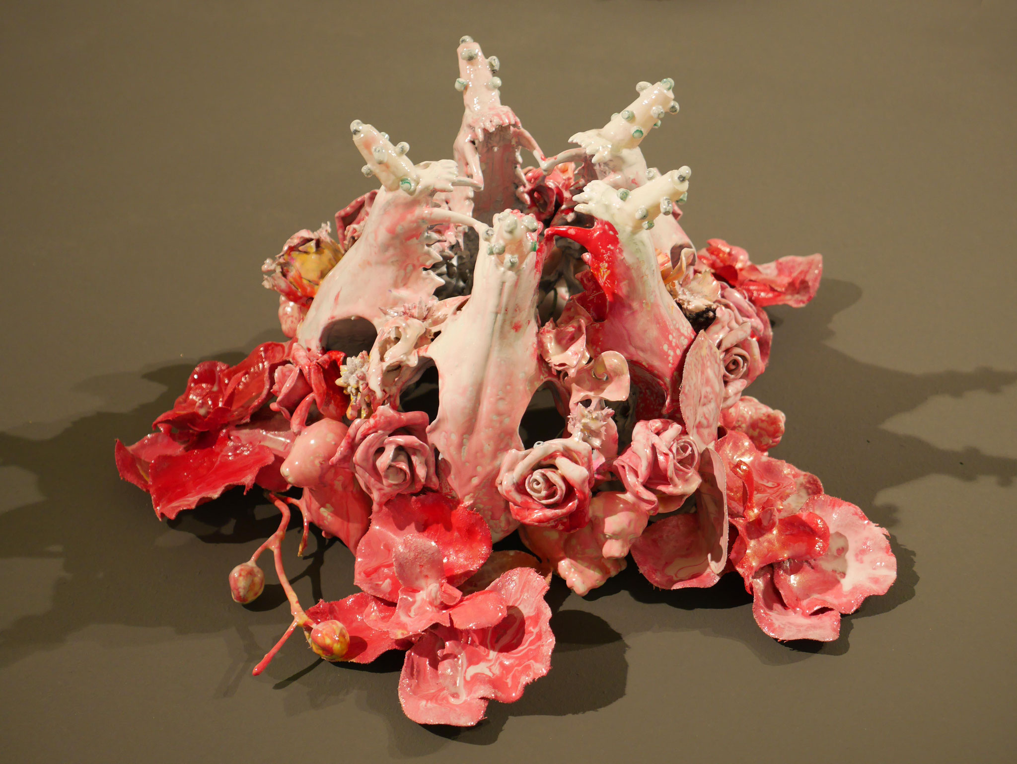 #17, 2016, fox sculls, plastic flowers, plastic toys and dried flowers coated with epoxy resin, 29x30x16cm