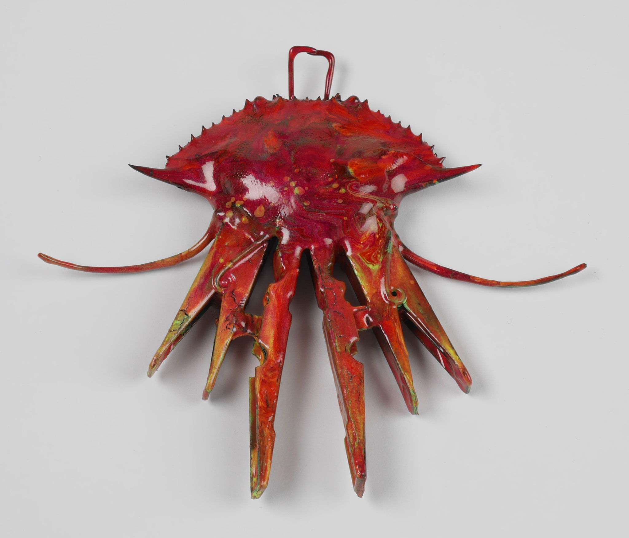 #10, 2016, crayfish carapace, clothes pegs and snake ribs coated with epoxy resin, 13x14,5x2cm