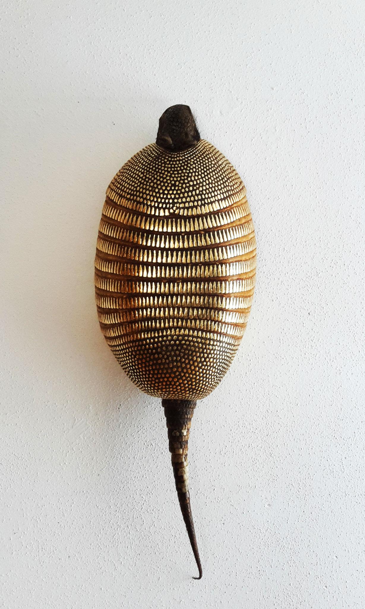 Armadillo Totem, 2018, 22 carat gold-plated armadillo carapace, 74x25x13cm