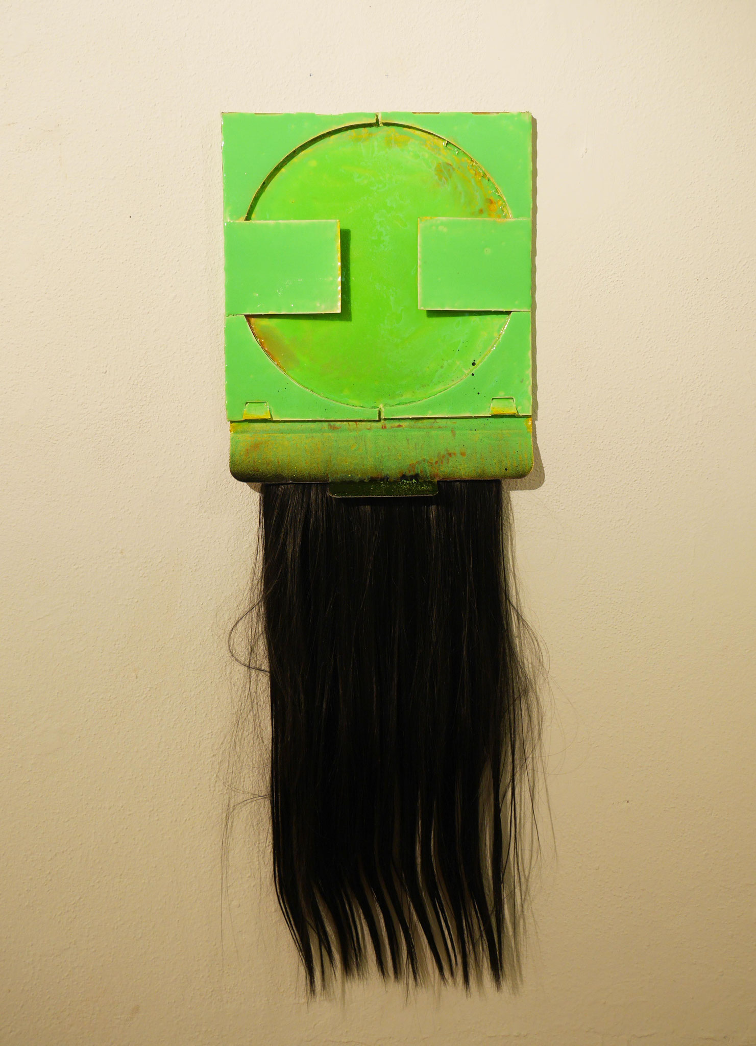 Circular Saw, 2016, hair extension and carton coated with polyurethane, 42(98)x33cm