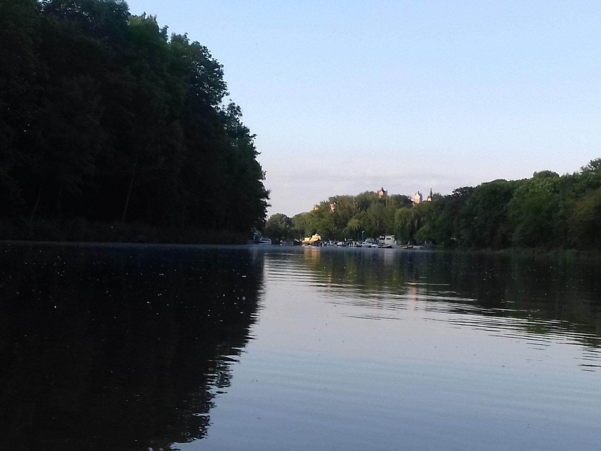 Schloßspitzen von Bernburg in Sicht