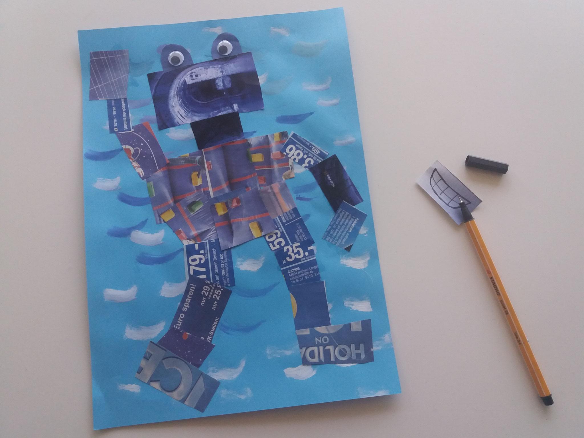Sobald der Hintergrund getrocknet ist, kann der Roboter aufgeklebt werden. Halbkreise und Wackelaugen für die Augen verwenden und einen Mund aufmalen