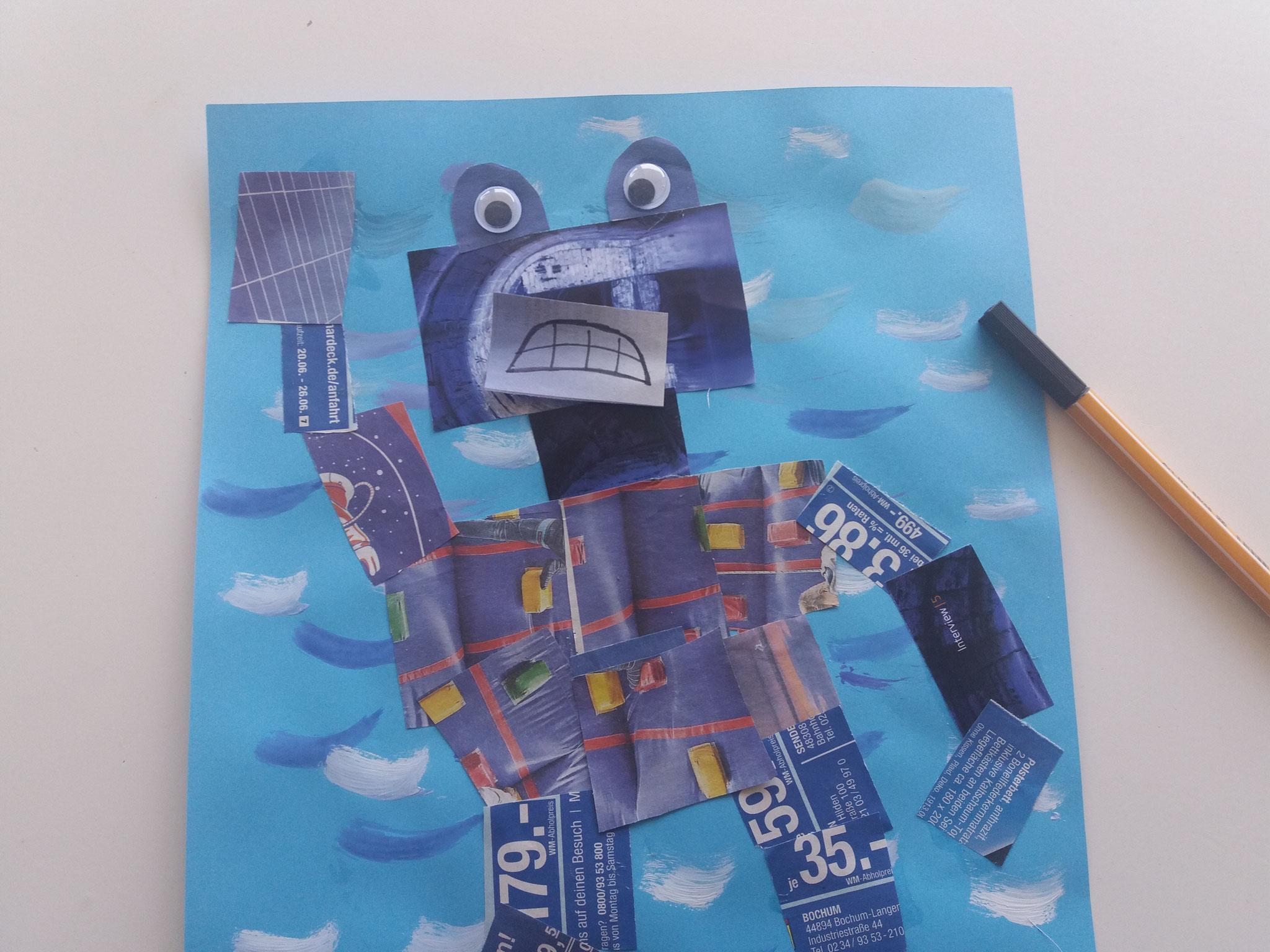 Ein schlecht gelaunter blauer Roboter