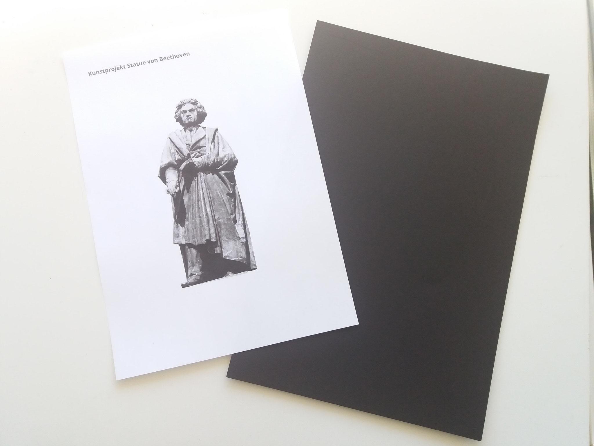 """Zunächst die Pdf-Datei """"Beethoven"""" ausdrucken und ein schwarzes Blatt Papier bereitlegen"""