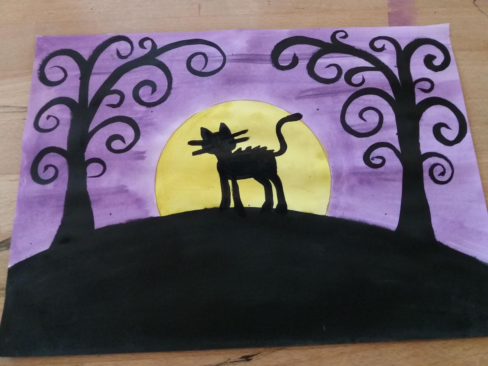 Ausmalen, noch ein paar Schnurrhaare hinzufügen - fertig ist die schwarze Katze der Hexe (Luftballons - www.philipus-education.com)