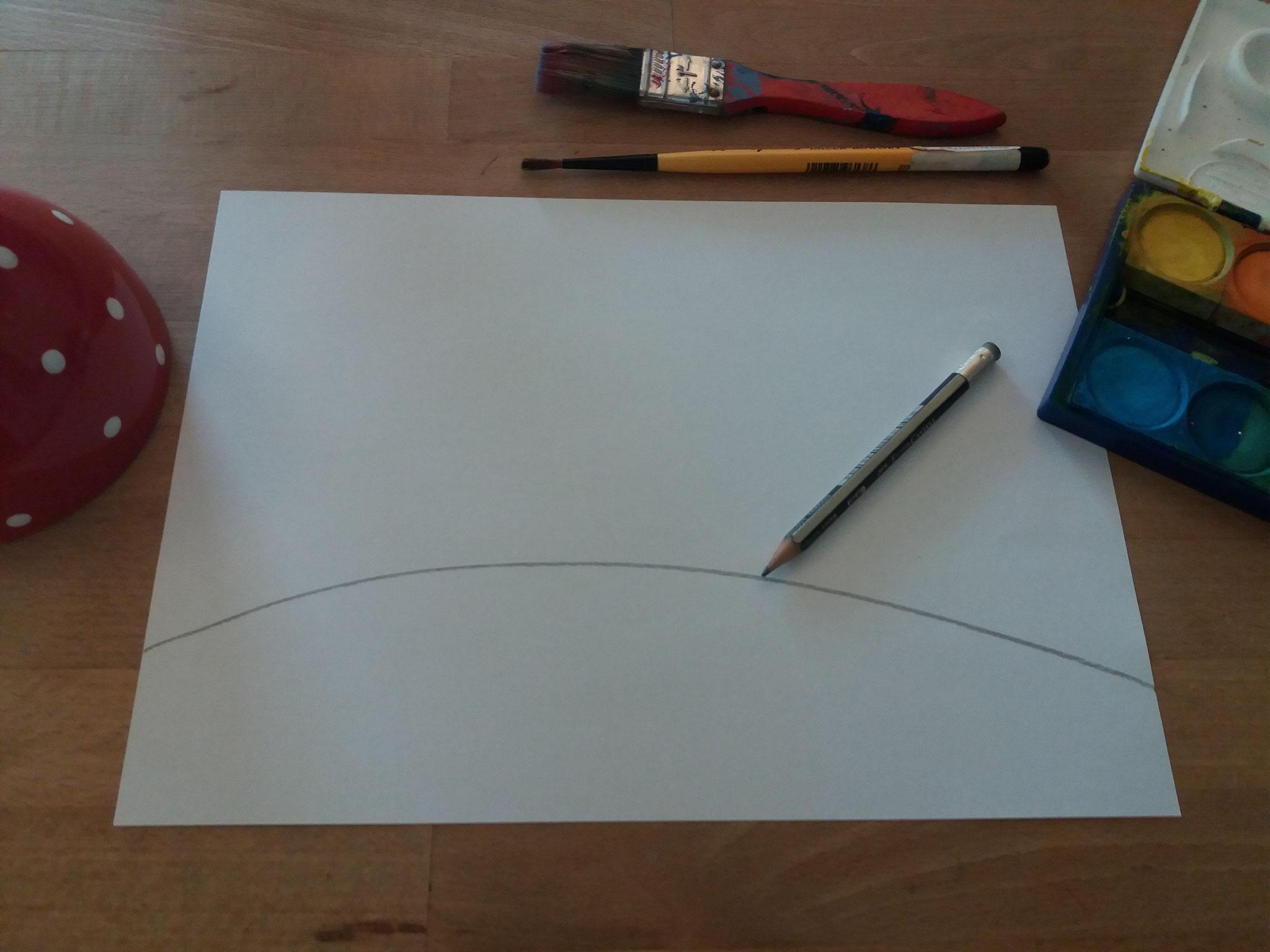 Mit Bleistift eine Horizontlinie ziehen