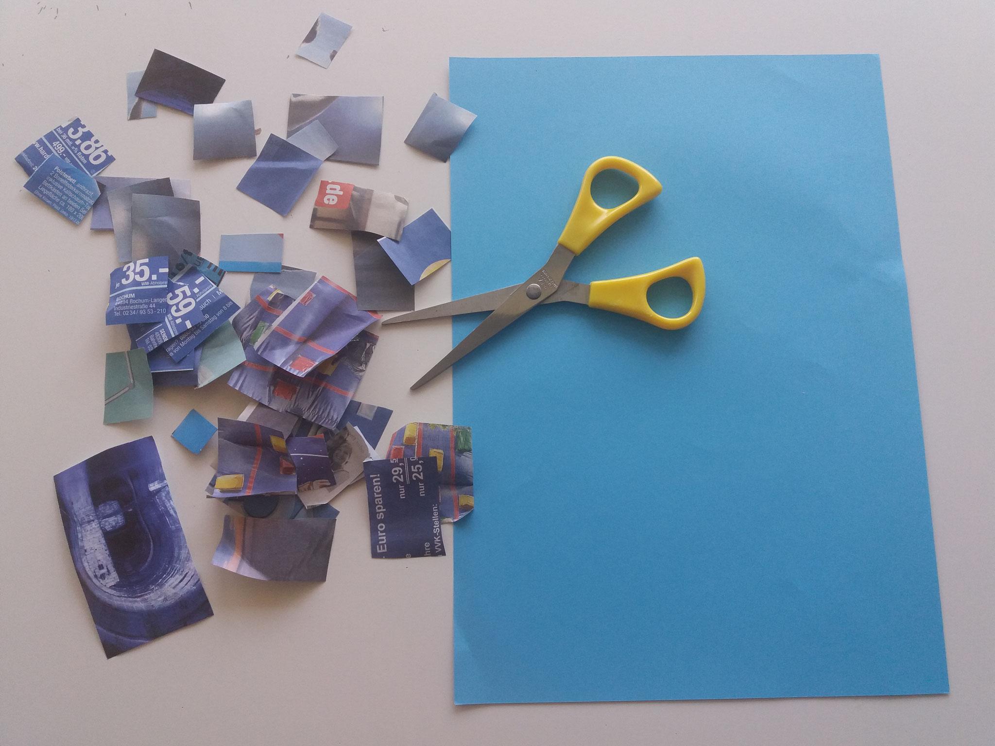 Ein blaues Blatt als Hintergrund und rechteckige blaue Schnipsel aus Prospekten (Luftballons - www.philipus-education.com)