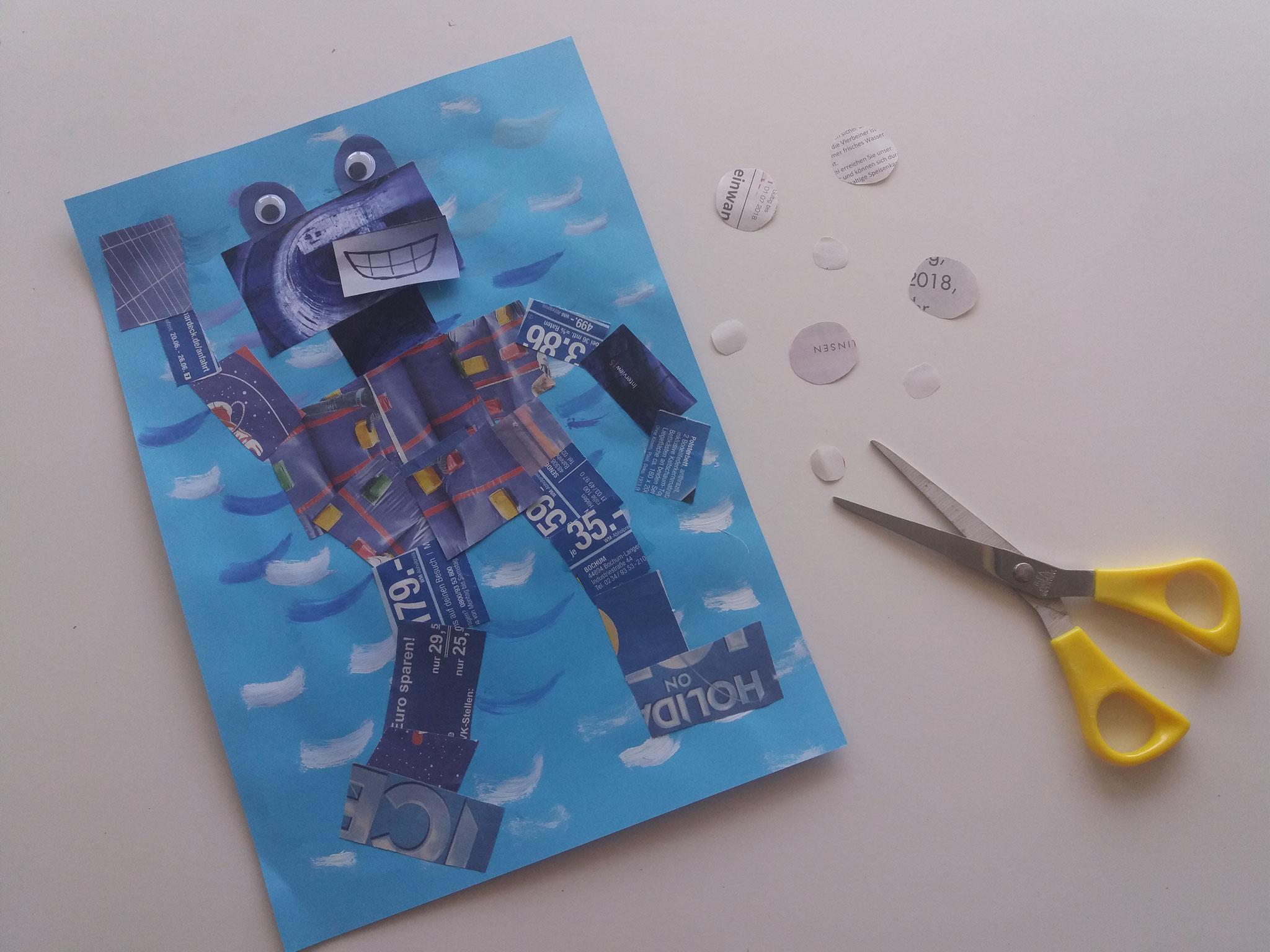 Runde Luftblasen aus Zeitungspapier ausschneiden und rund um den Roboter aufkleben