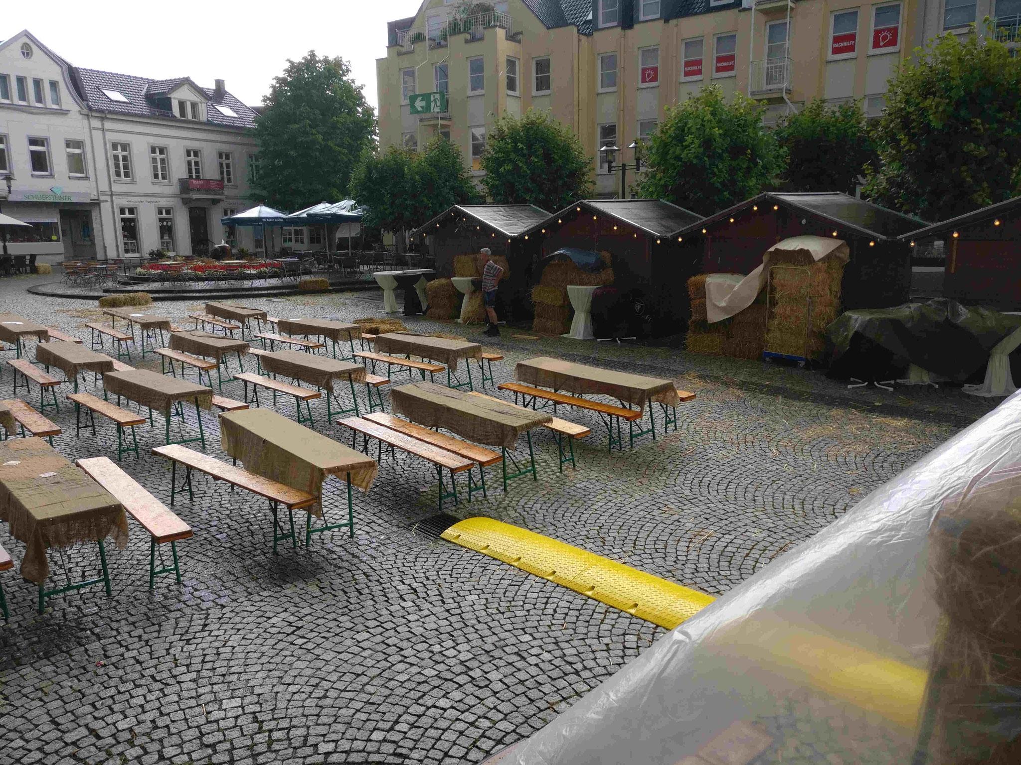 Kirchplatz nach dem Regenguss am 20.07.2019