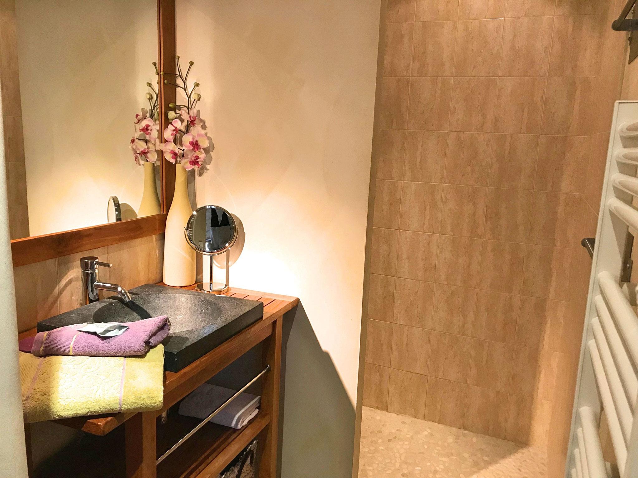 Salle d'eau de Fleur de Vigne, douche à l'italienne