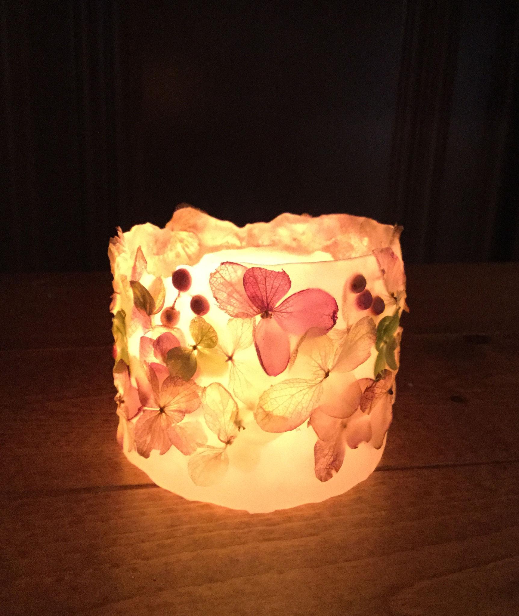 立体仕上げ(紫陽花3種&ピンクペッパーベリー)