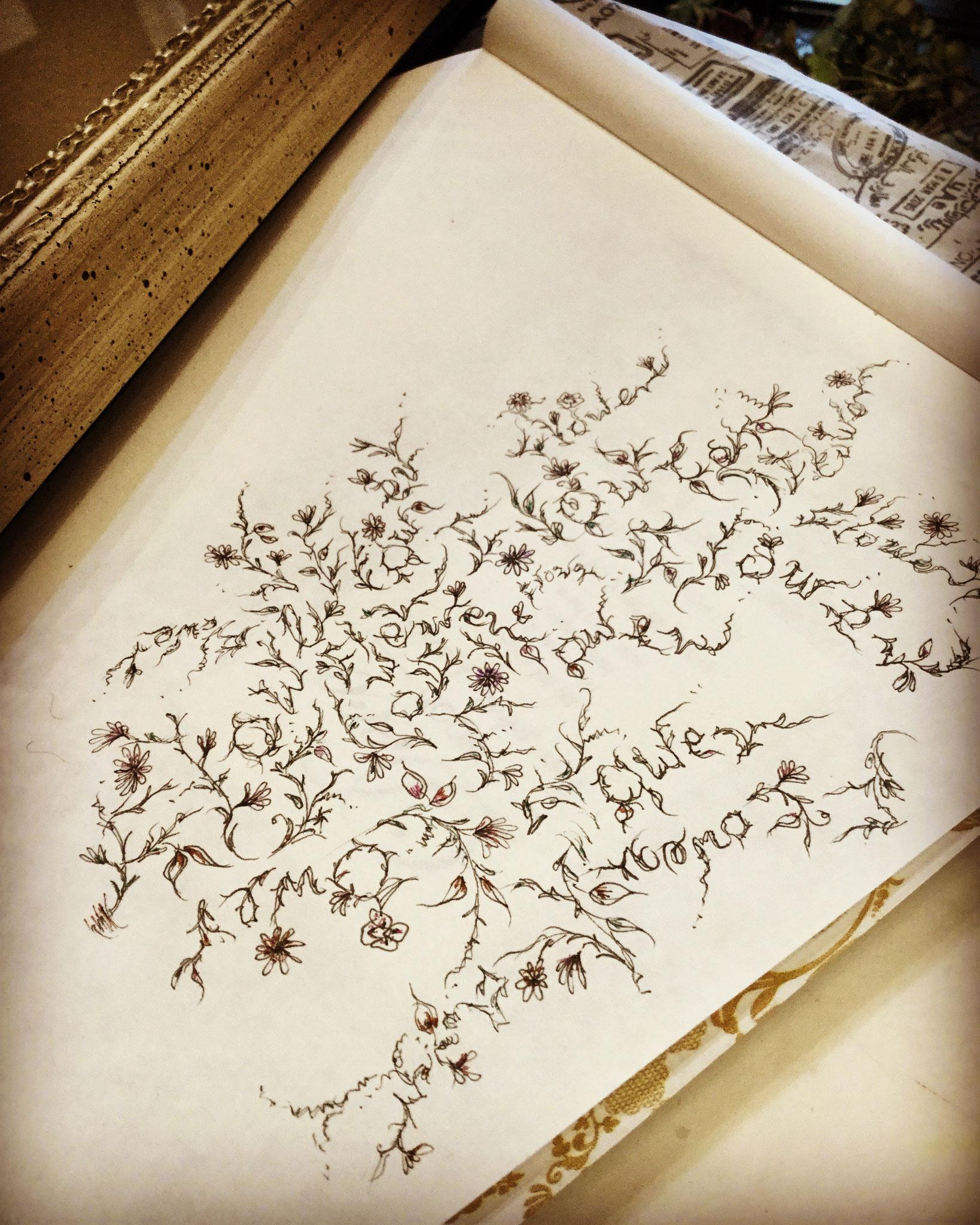 「花のなる木」Flowerのスペルのみのハーブ花絵
