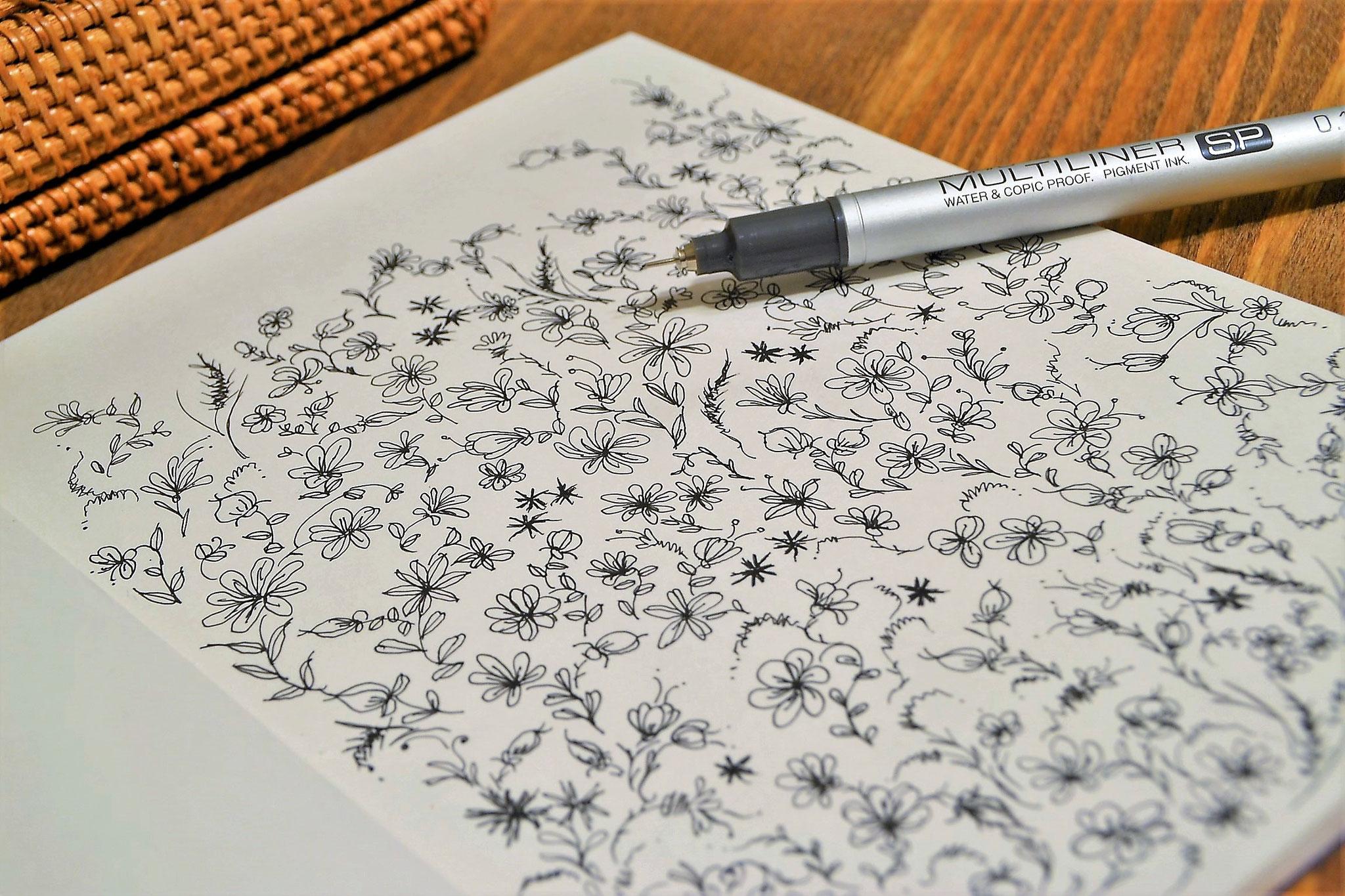 ハーブ花絵 シンプルペン書き