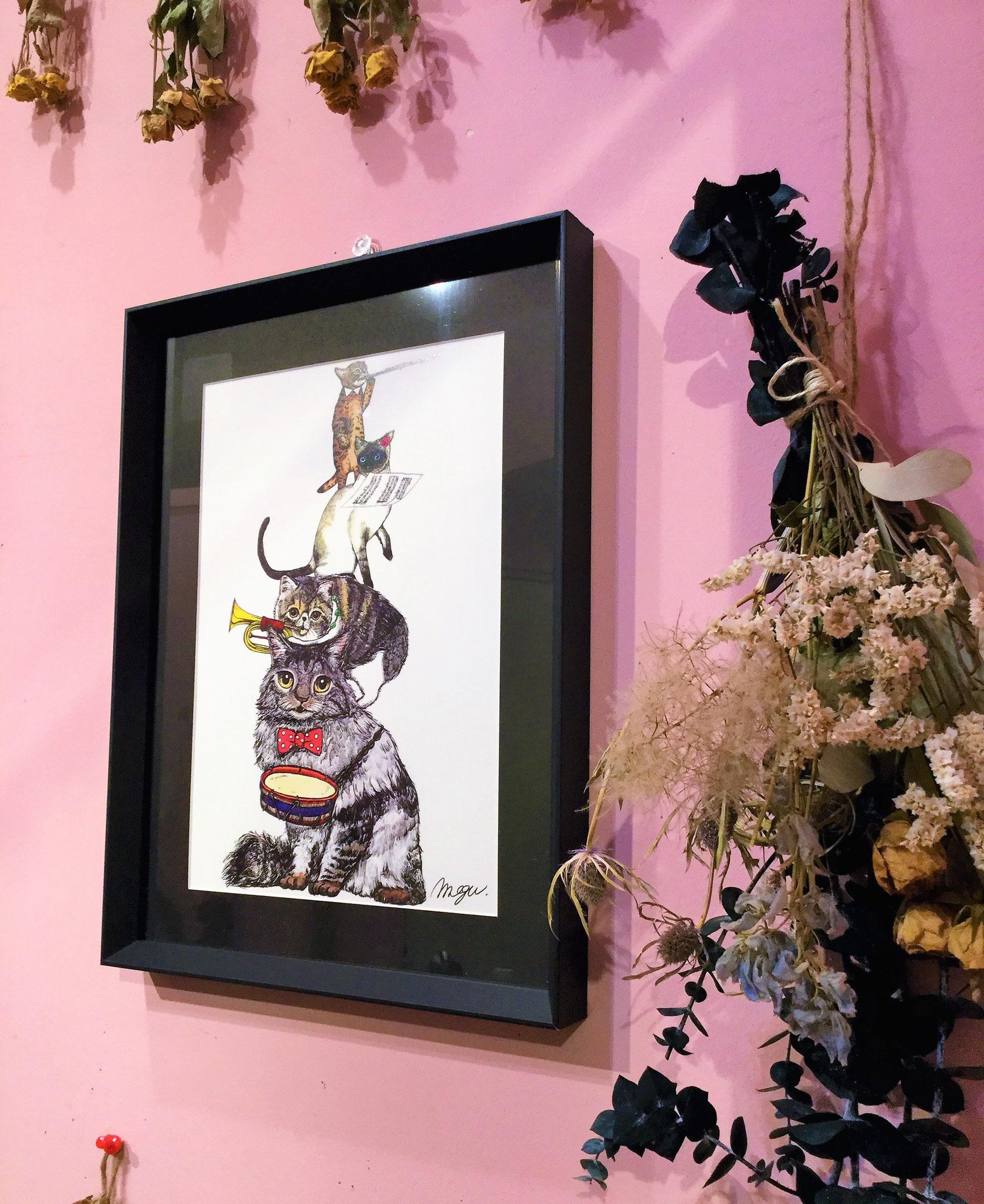 ナガミネメグミ 画 「猫の音楽隊」(painted by ipad)