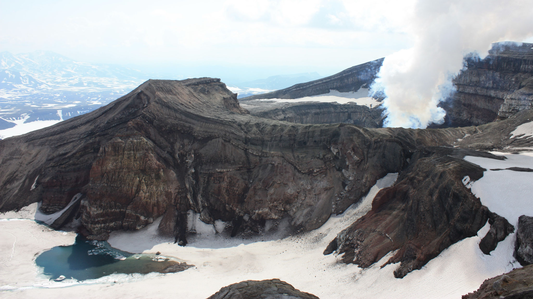 Crater of the active volcano Gorely