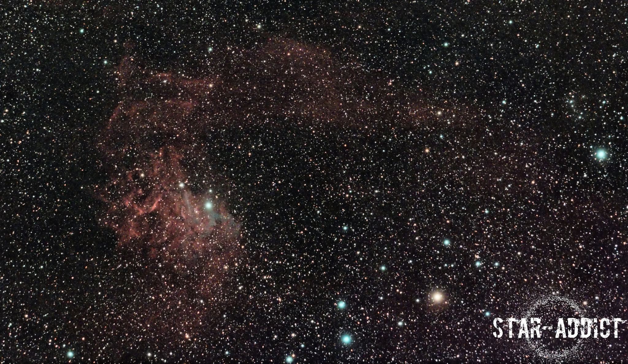 IC405 - Flaming Star Nebula - TecnoSky 80mm Flatfield apo f4.3 - Canon EOS 1300D Astrodon inside - Optolong CLS Clip in filter - 120 (24x5') minutes guided