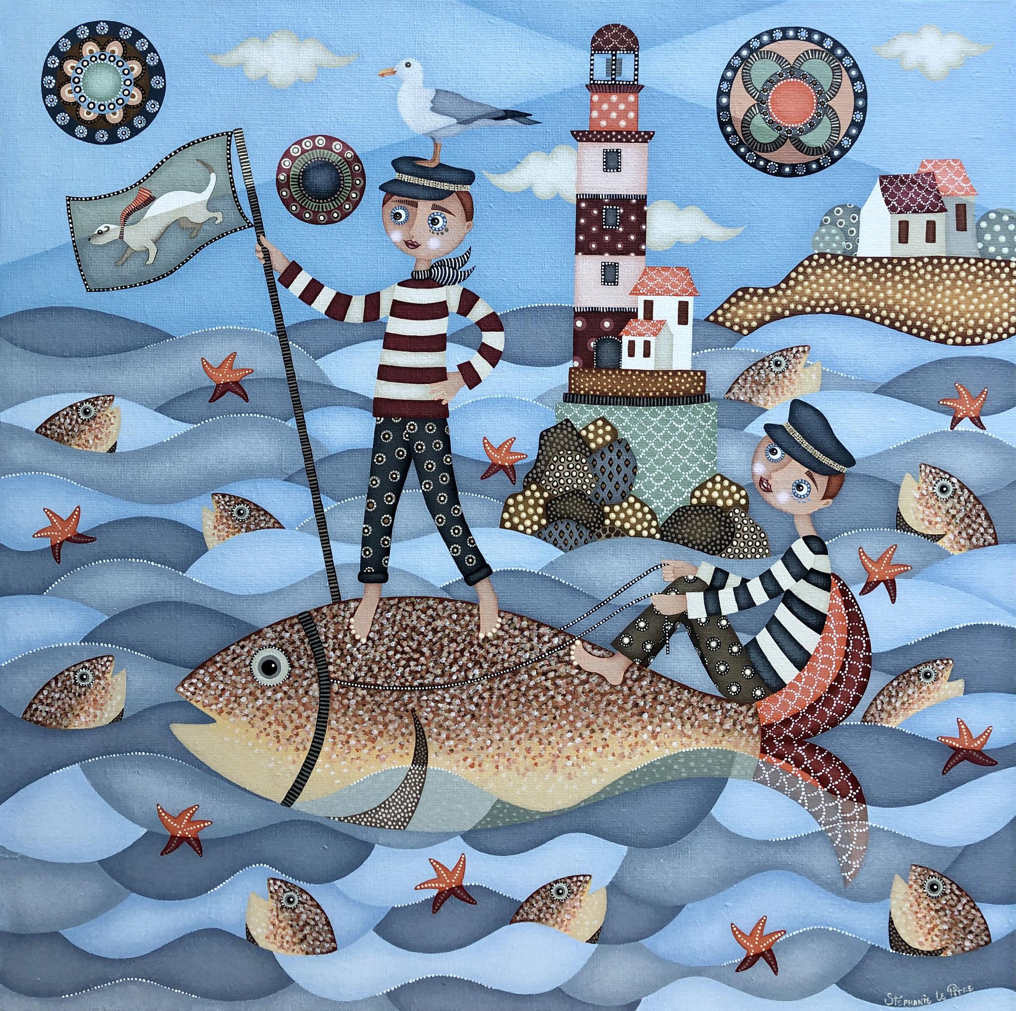 La Pêche au Gros (60 x 60)