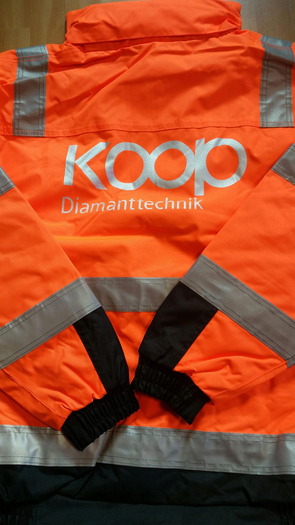 Warnschutz Winterjacke Siebdruck Rücken 1-farbig