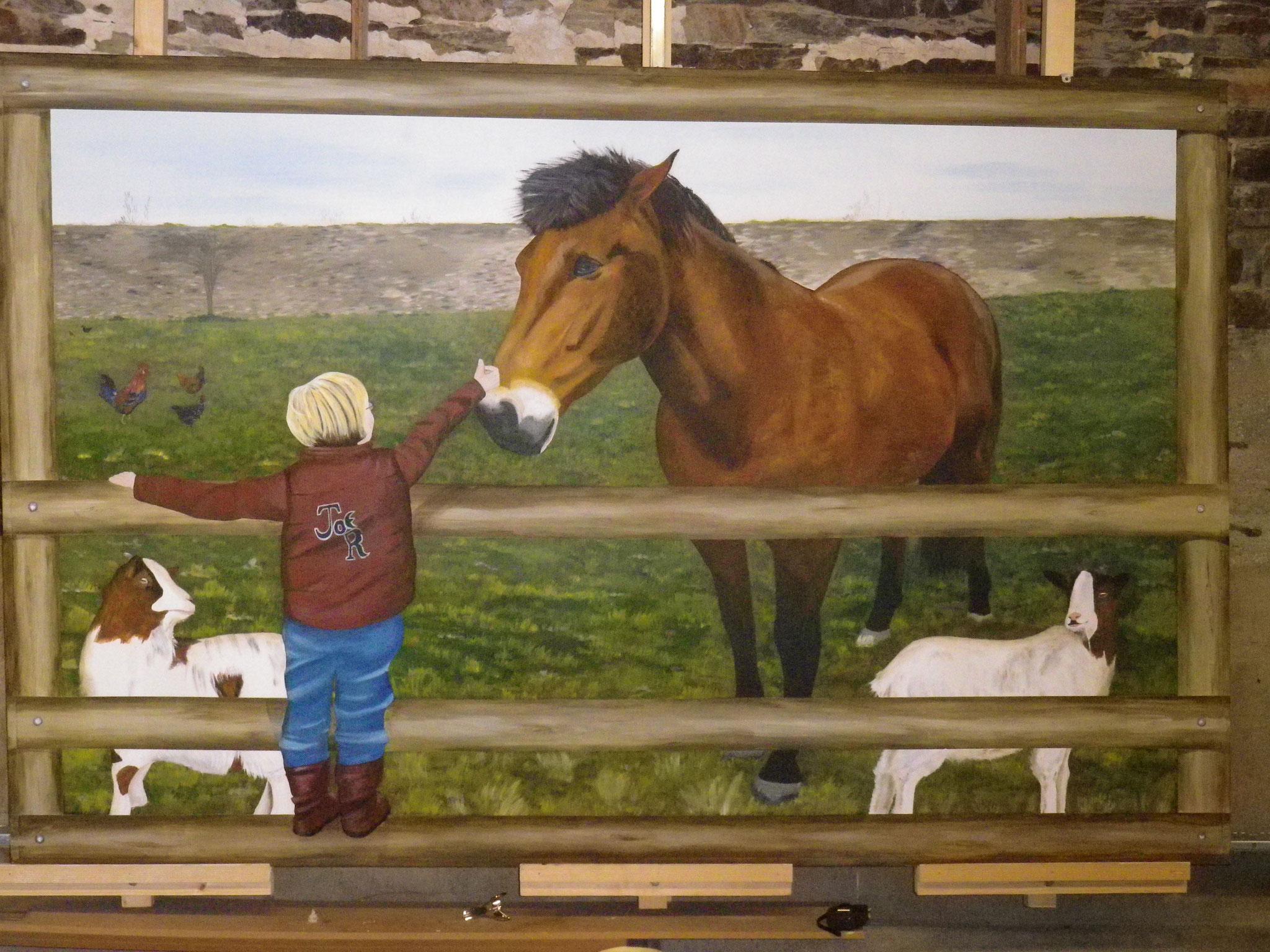 fresque peinte sur panneau