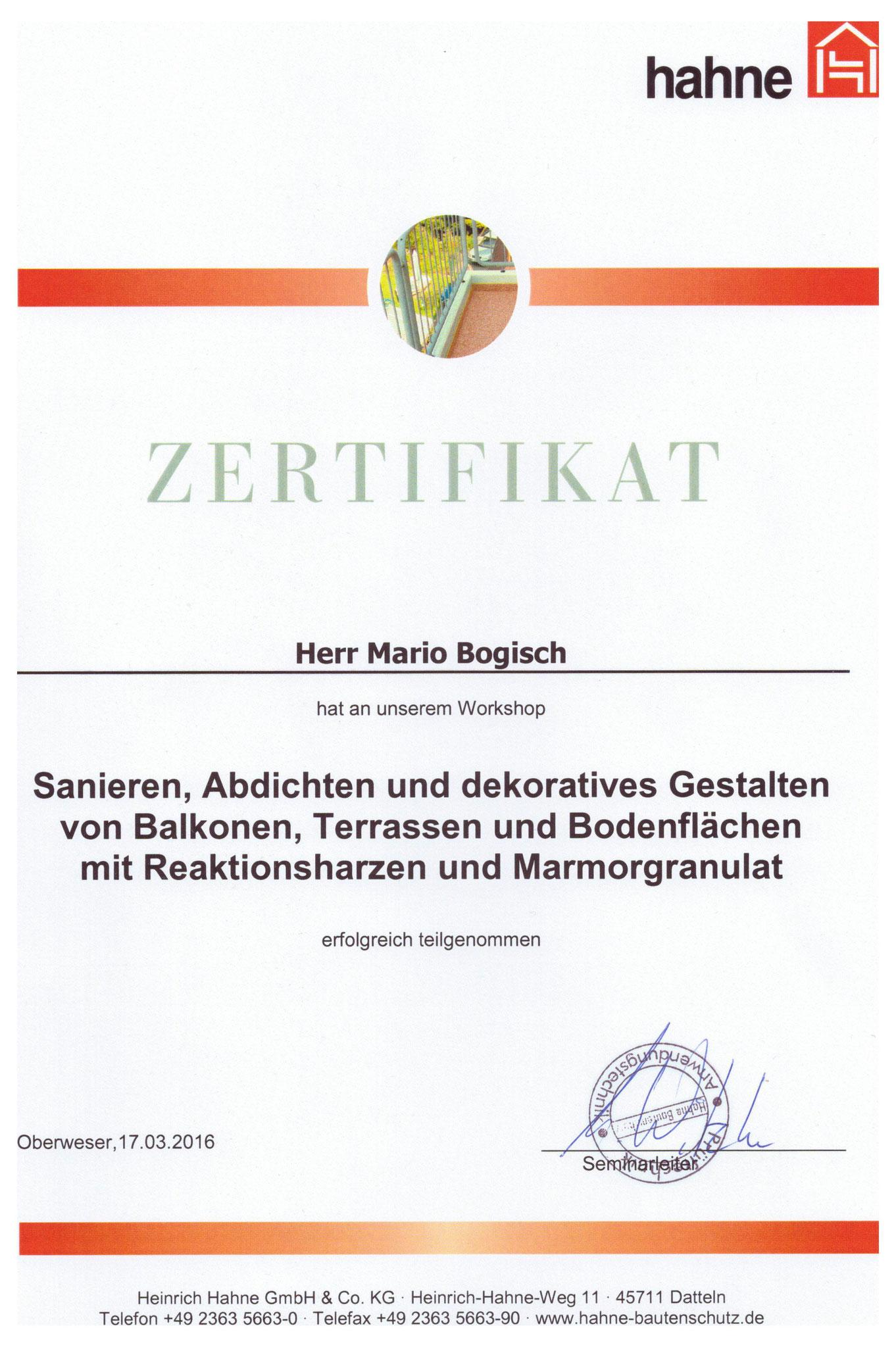 Zertifikat Terrassensanierung, Balkonsanierung, Bodensanierung  -  Mario Bogisch Bausysteme