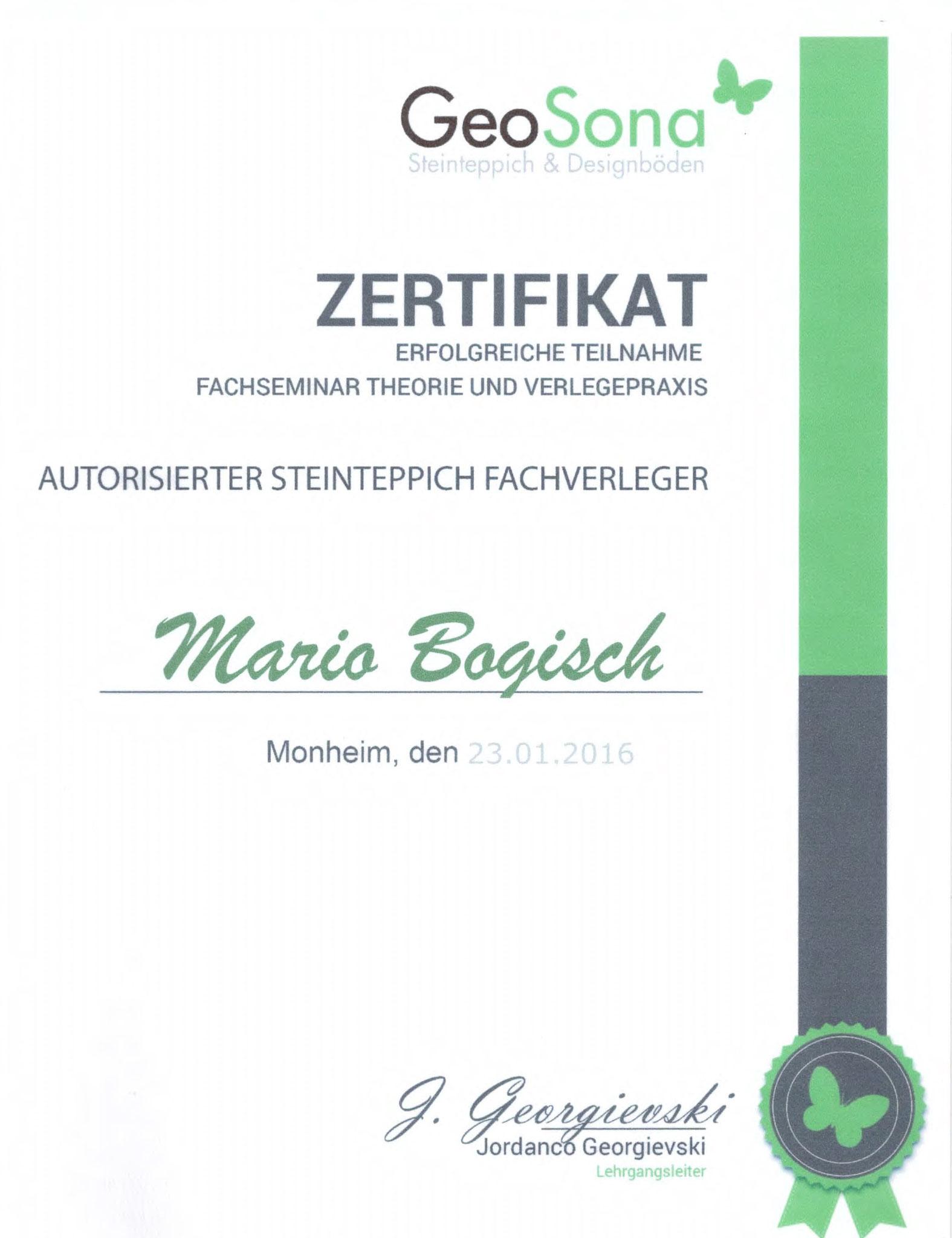 Zertifikat Steinteppich Fachverleger -  Mario Bogisch Bausysteme