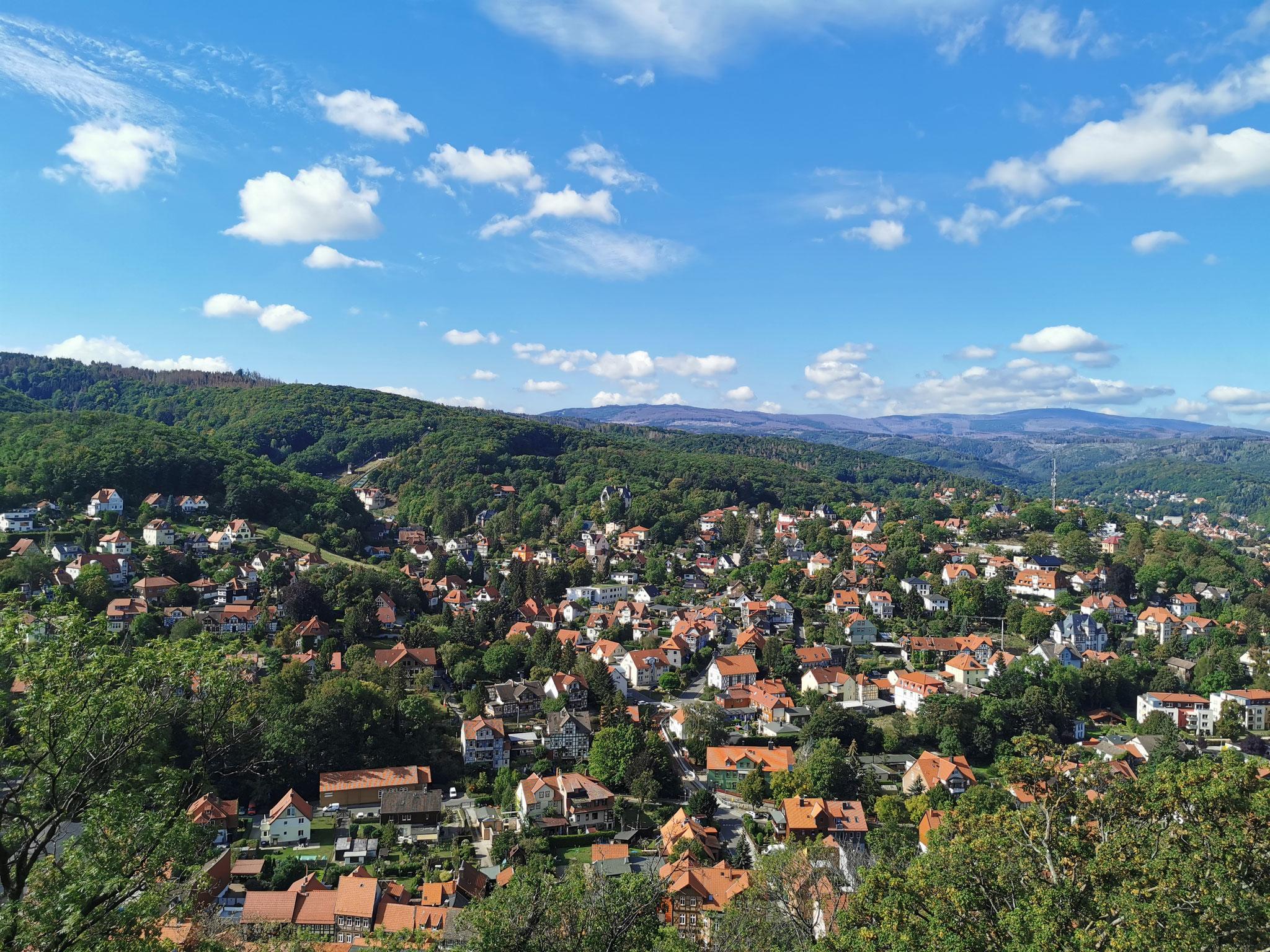 Blick von den Hohengärten auf den Brocken und ins Tal