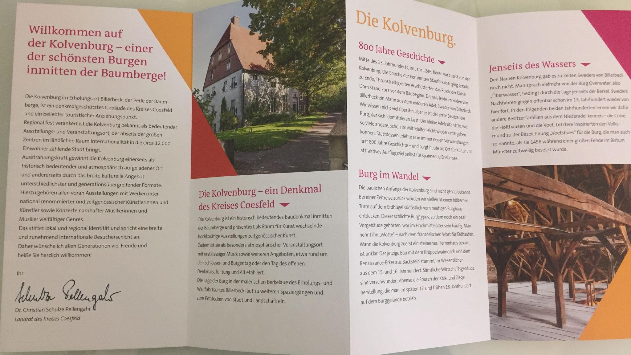 Mit Hilfe der Kleinprojekte-Förderung hat die Kolvenburg einen neuen Flyer entworfen. Foto: Kolvenburg