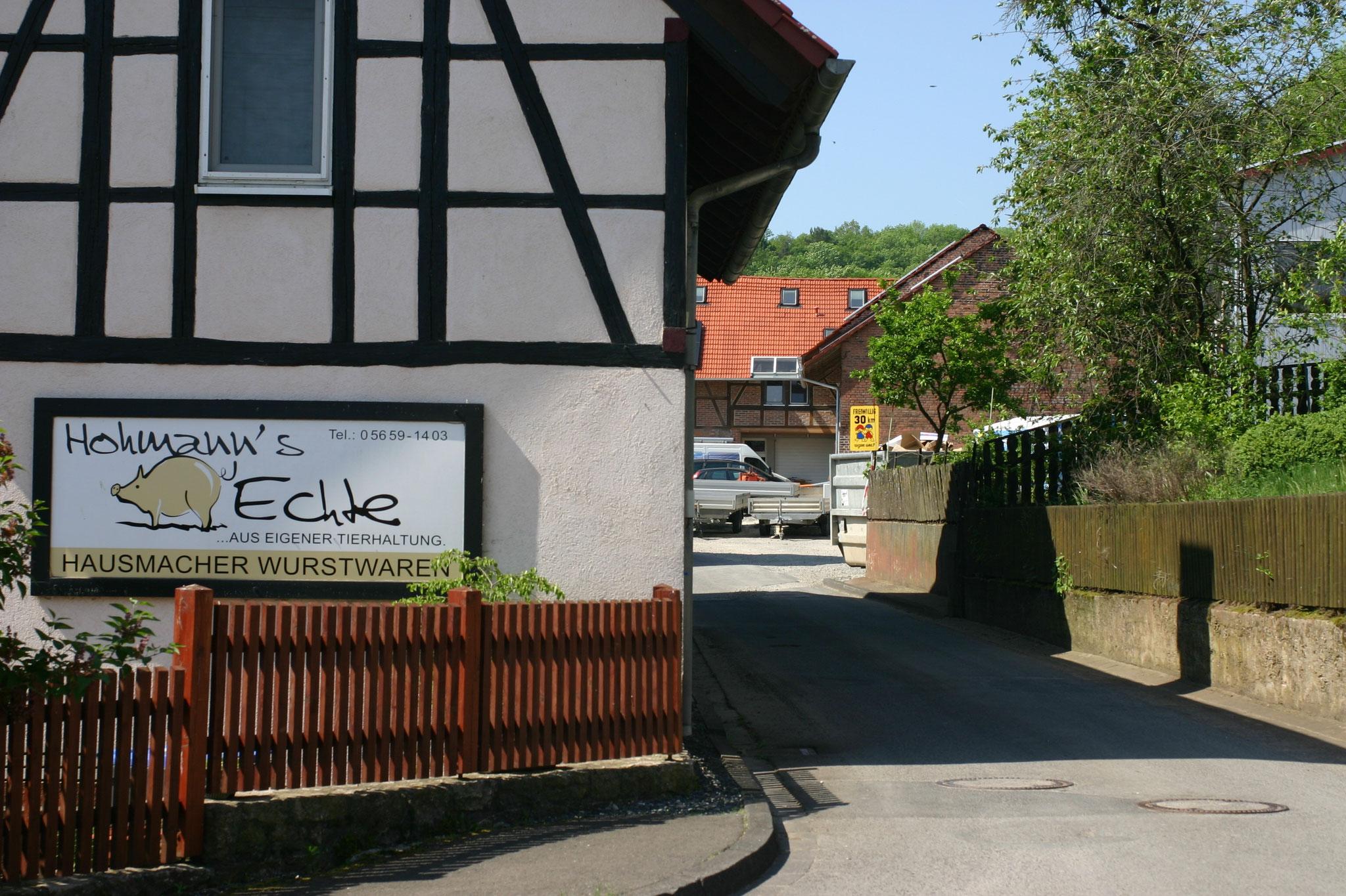 Hohmann Echte, Fleischerei, hier gibt es Ahle Wurscht. Unterhalb vom Anger gelegen.