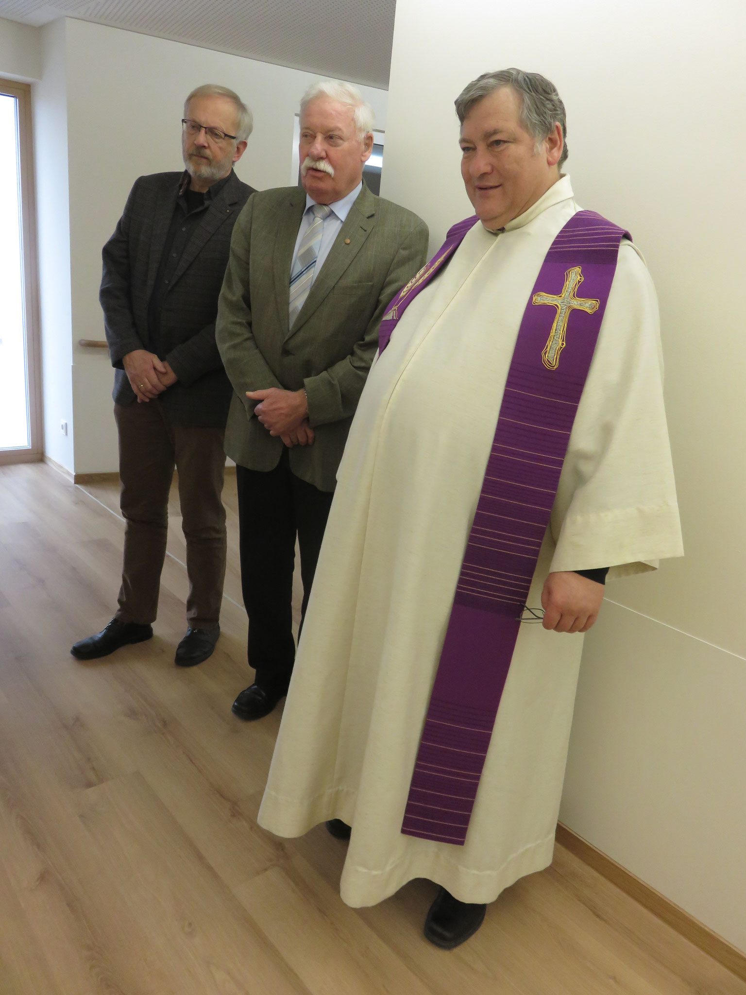 Der evangelische Pfarrer Dietmar Schuh, unser zweiter Bürgermeister und Pfarrer Mederer