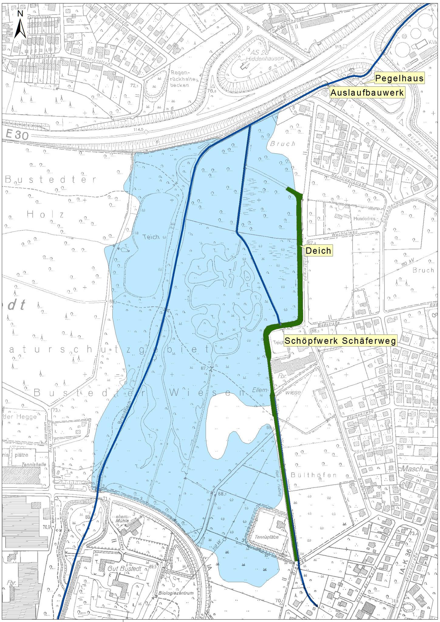Übersichtslageplan mit Einstaufläche (blau) und Deichanlage (grün)