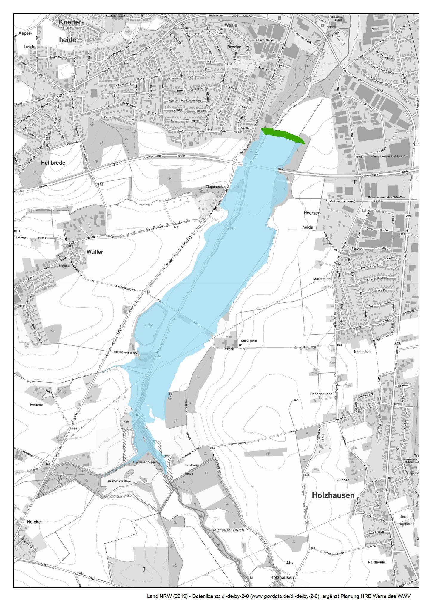 Übersichtslageplan mit Einstaufläche (blau) und Staudamm (grün)