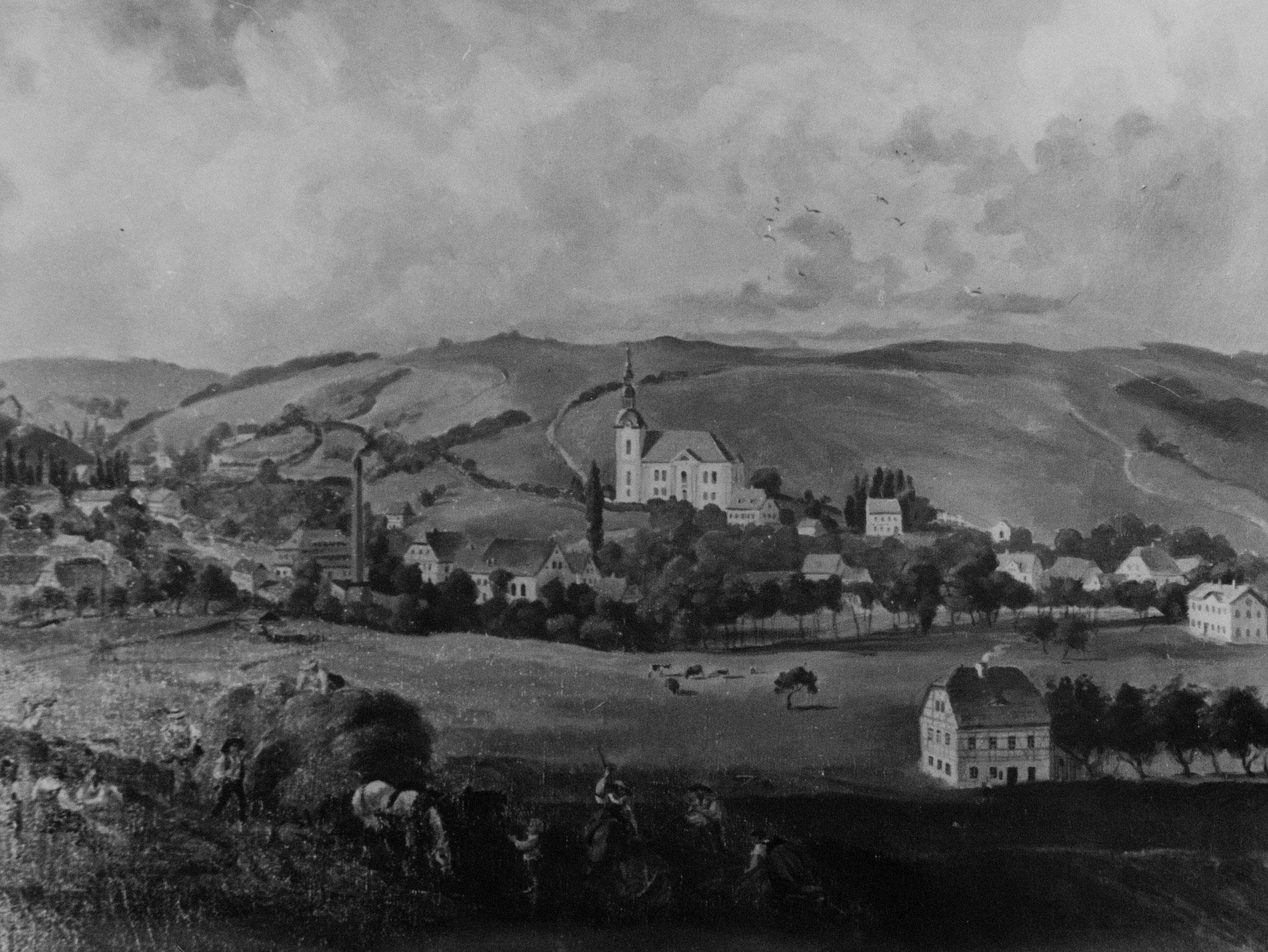 """""""Blick von der Herrmannstraße"""", etwa 1875  -   Ölgemälde von Walter Leuteritz. Es zeigt die Jakobikirche Einsiedel wenige Jahrzehnte nach ihrer Vollendung  (1822-1827).  Baumeister war Friedrich Christian Uhlig aus Altenhain."""