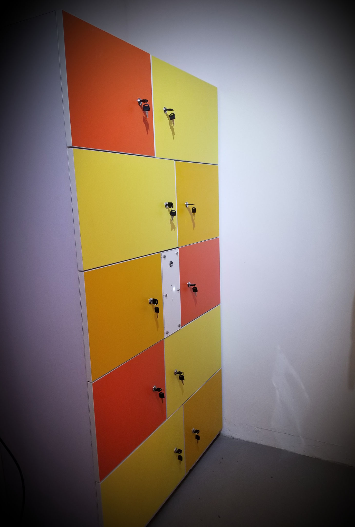 New wooden locker with central control unit
