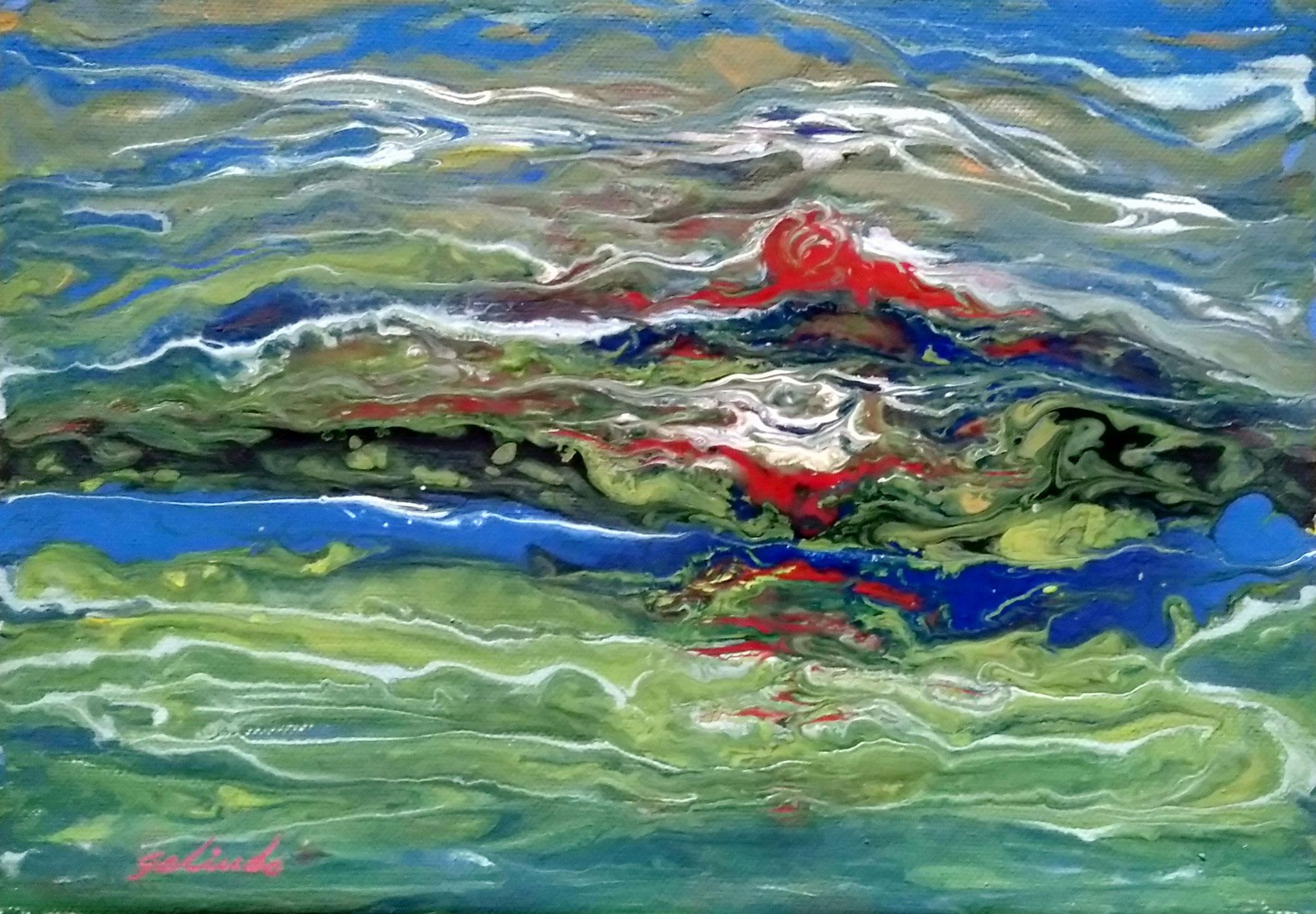 Acrílico lienzo encolado cartón. 29*21 cms. Con marco 37*28 cms.