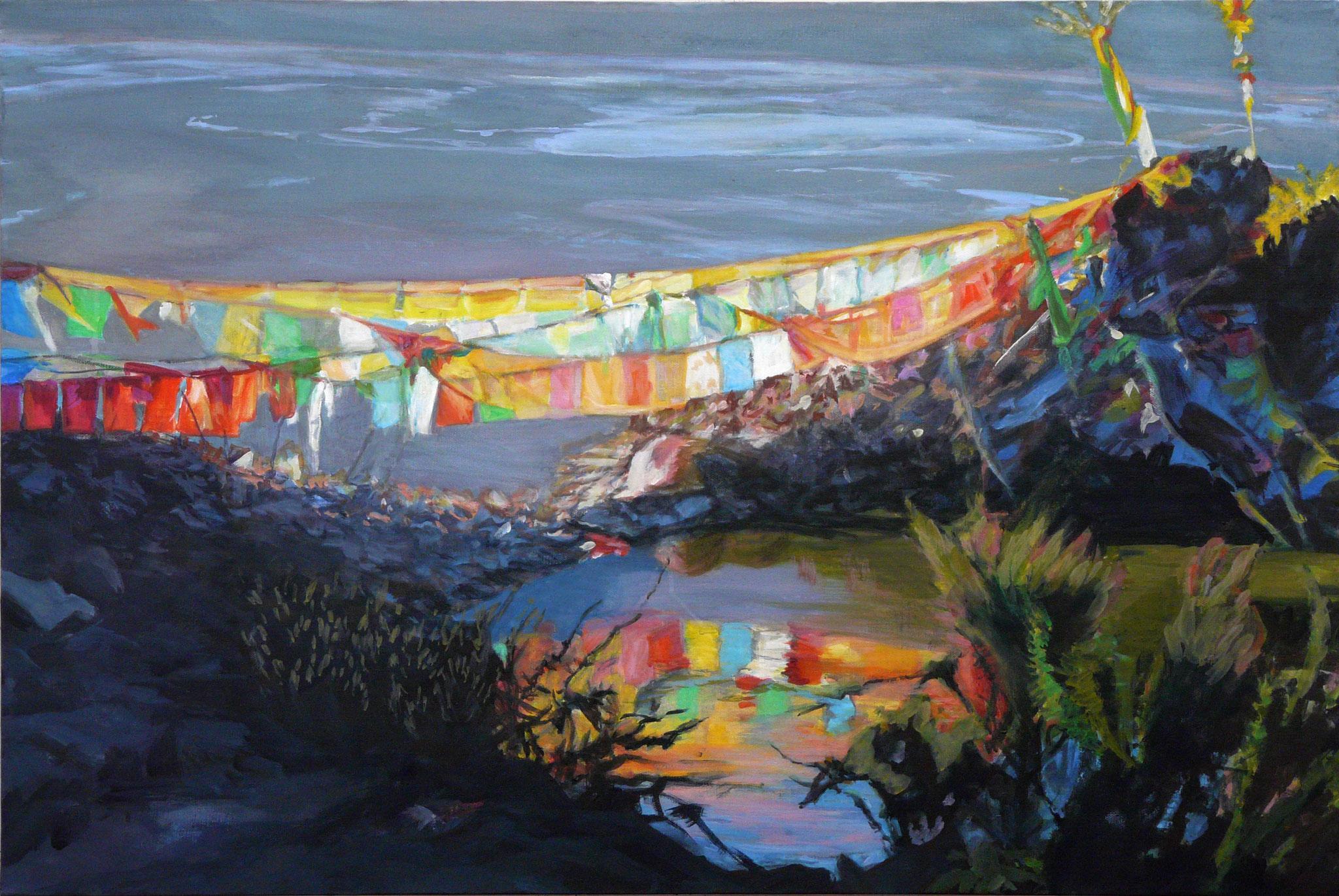 8. Fahnen im Licht, Gouache +Acryl auf Leinwand, 60 x 90 cm, 206