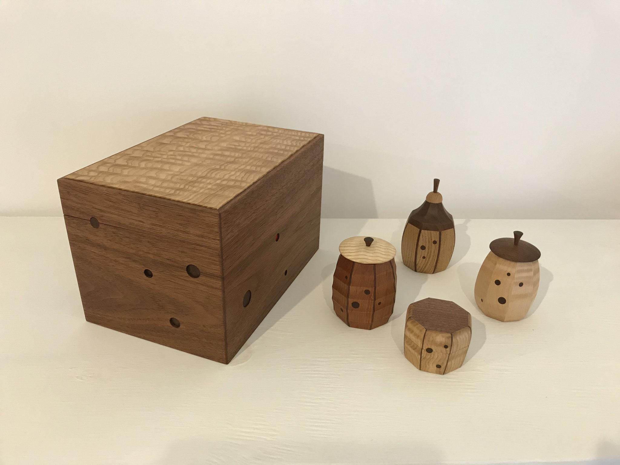 茶人の箱と茶器、振出。/八ヶ岳の家具工房ZEROSSOの茶道具、創作家具