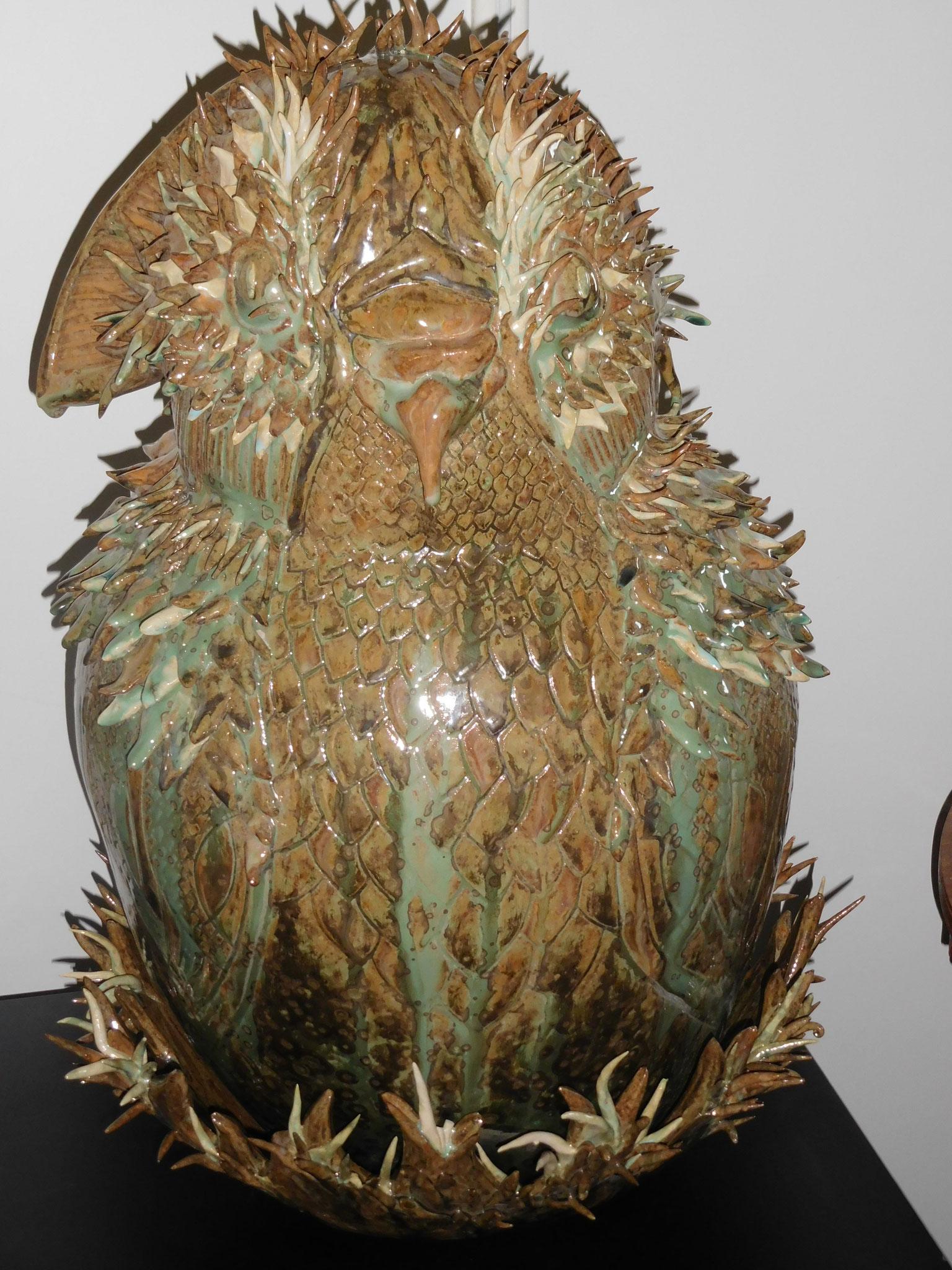 Bubo dans son nid - diamètre 35cm - hauteur 58cm - 500 euros