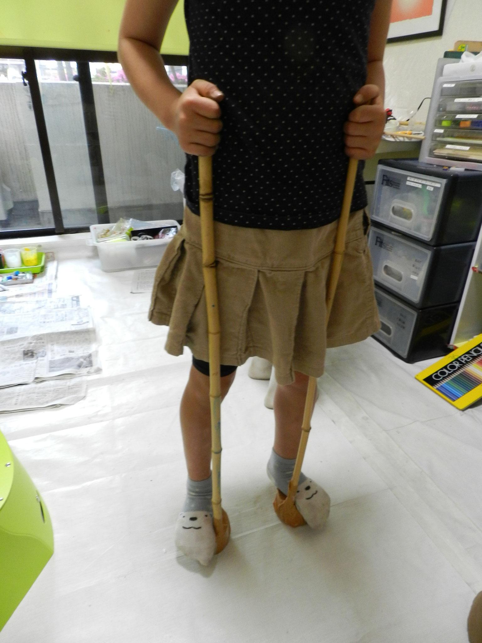 竹と廃材を使って竹馬が完成★(小1)
