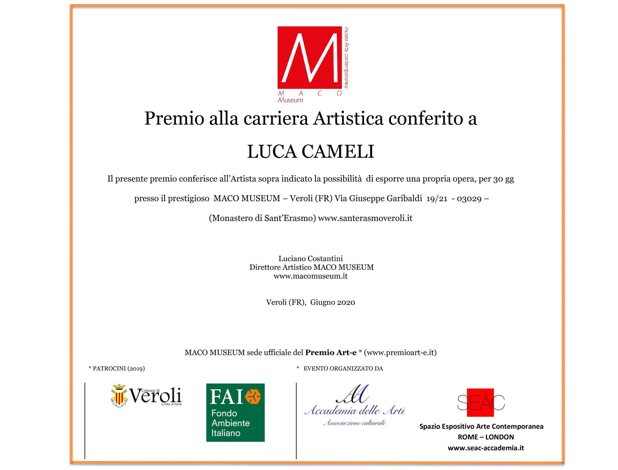"""""""Premio alla carriera Artistica"""" MACO MUSEUM conferito a Luca Cameli."""