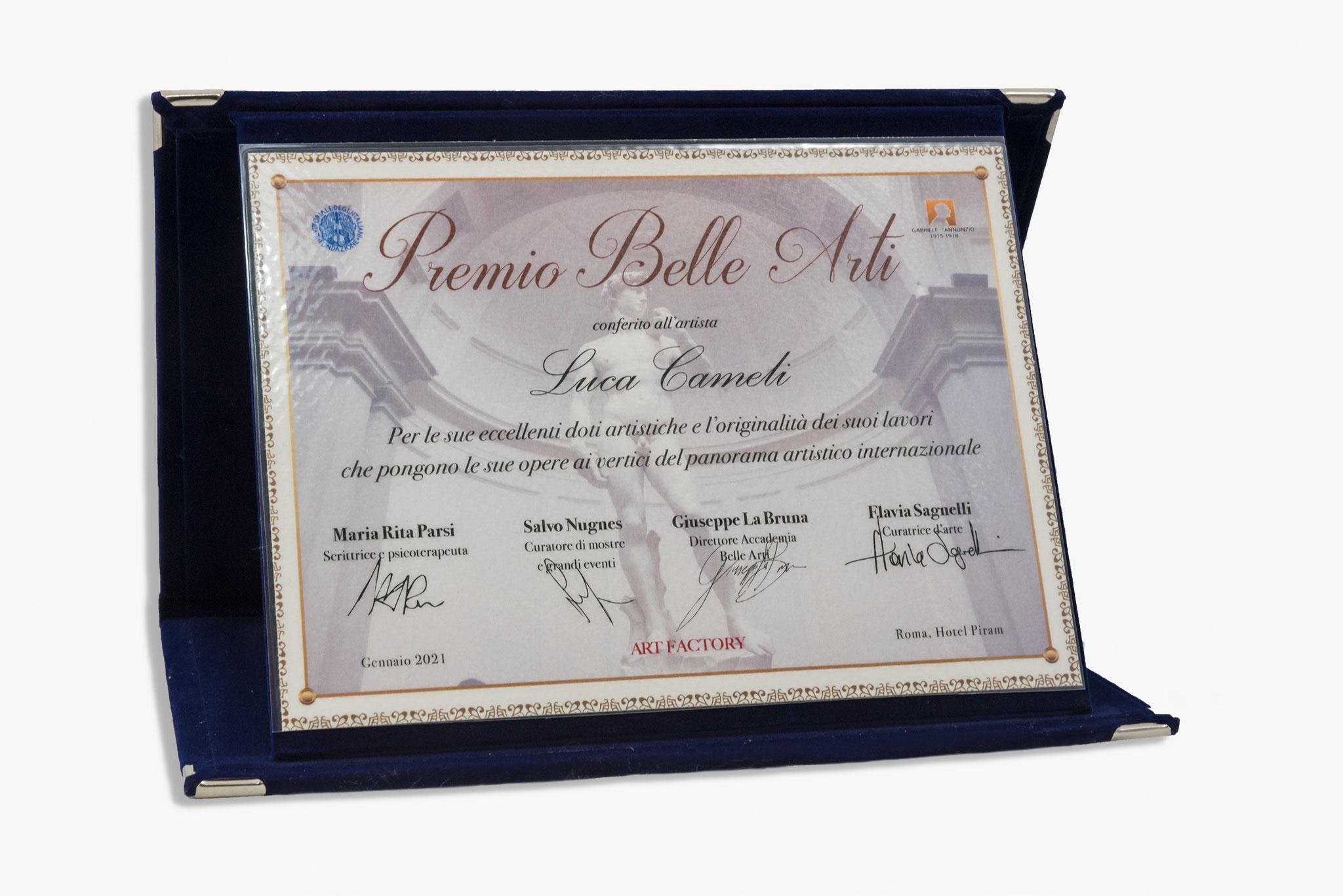 """Targa """"Premio Belle Arti"""" a Luca Cameli conferito dall'Associazione Spoleto Arte di Bassano del Grappa."""