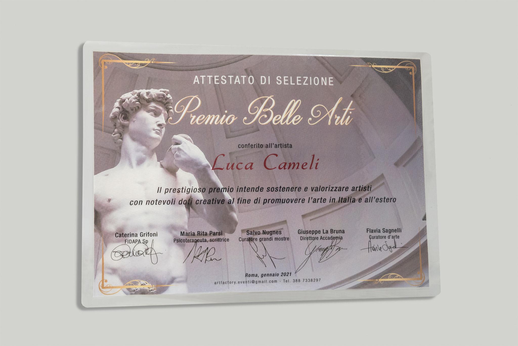 """Attestato di selezione al """"Premio Belle Arti"""" a Luca Cameli conferito dall'Associazione Spoleto Arte di Bassano del Grappa."""