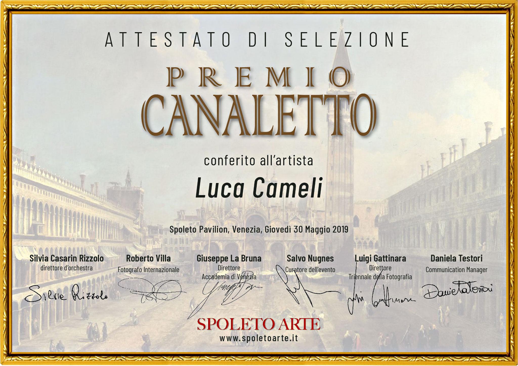 """""""Premio Canaletto"""" indetto da Spoleto Arte nel contesto de """"La Biennale di Venezia D'Arte"""" 2019"""