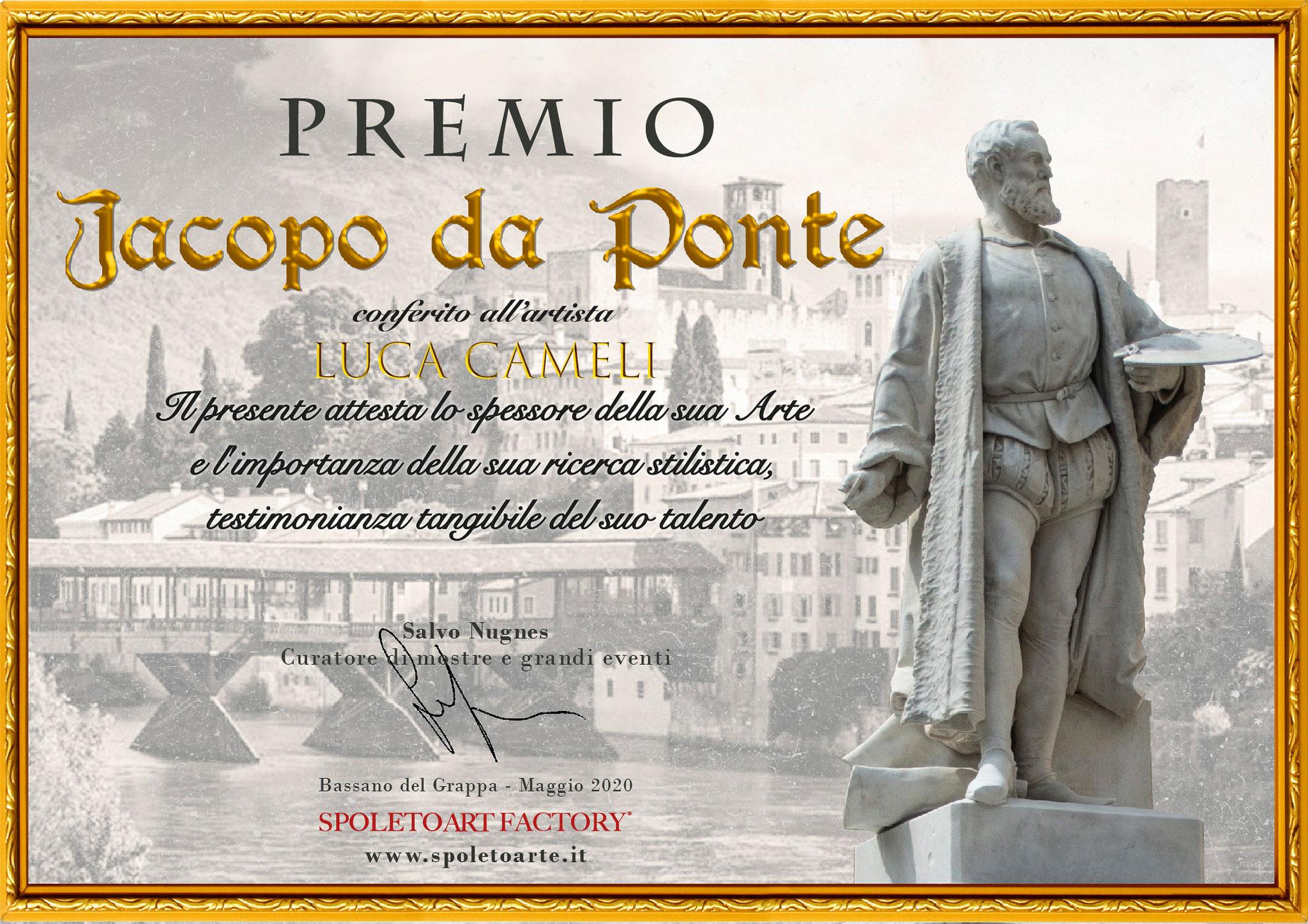 """""""Premio Jacopo da Ponte"""" per Luca Cameli conferito dall'Associazione Spoleto Arte di Bassano del Grappa"""