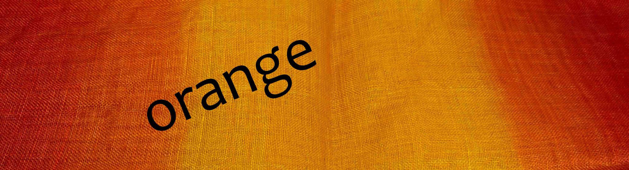 Sinamay mit Farbverlauf, orange zu gelb/orange