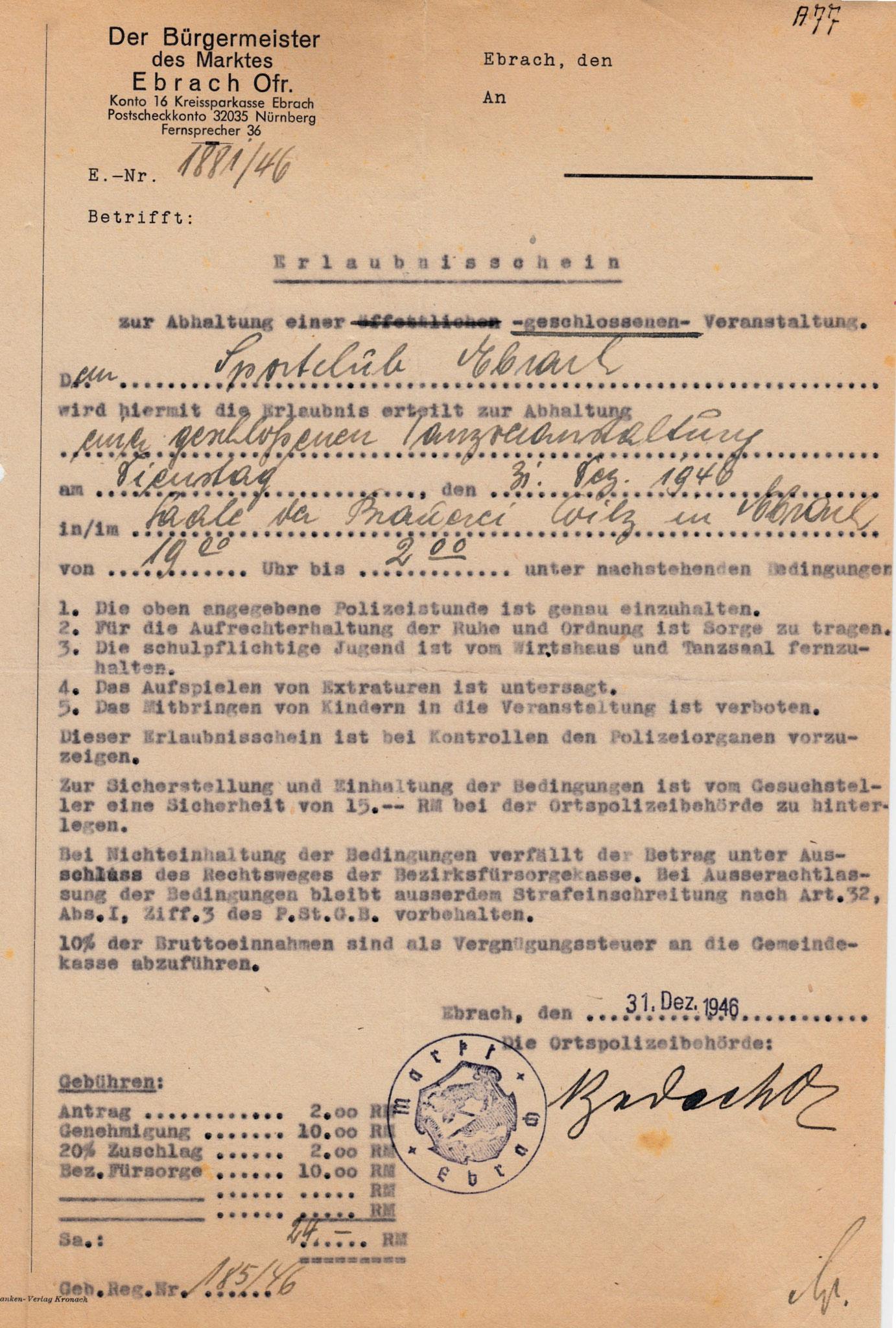 Wie wurde eine Tanzveranstaltung 1946 erlaubt?